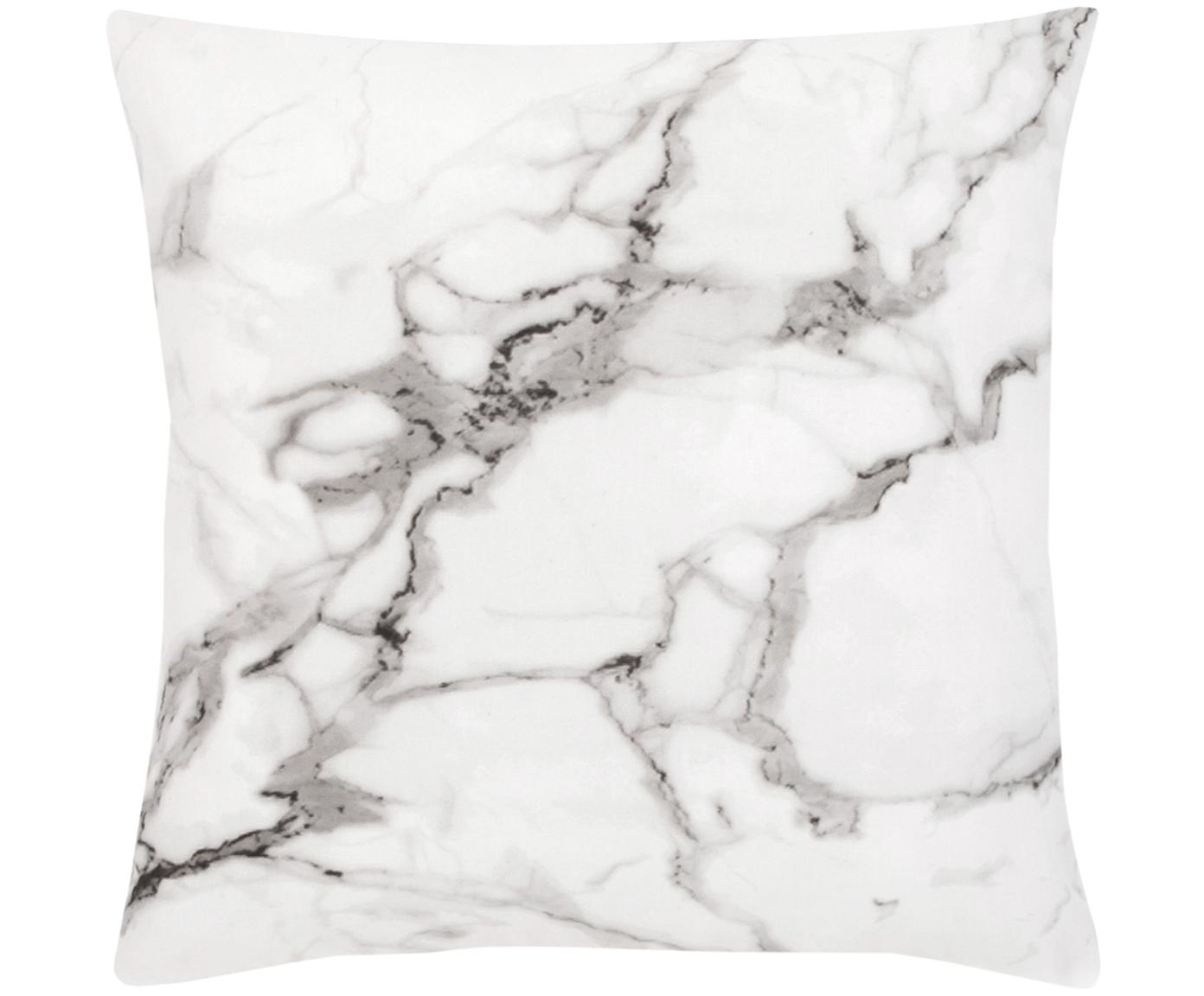 Kissenhülle Malin mit Marmormuster, Webart: Perkal, Marmormuster, Weiss, 45 x 45 cm