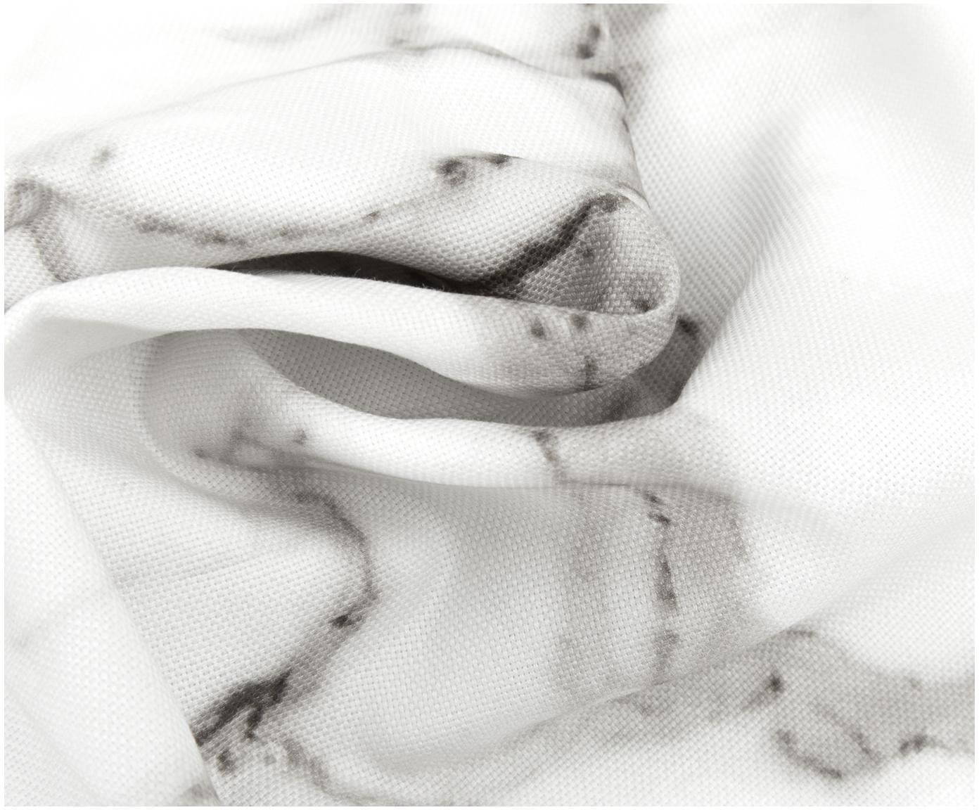 Poszewka na poduszkę Malin, Wzór marmurowy, biały, S 45 x D 45 cm