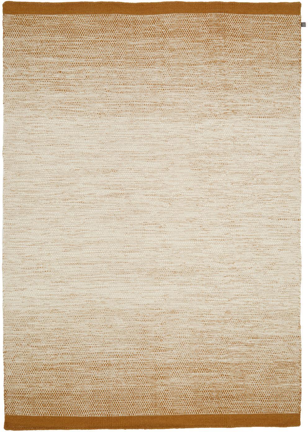 Tappeto in lana tessuto a mano Lule, 70% lana, 30% cotone, Giallo ocra, beige, Larg. 140 x Lung. 200 cm (taglia S)