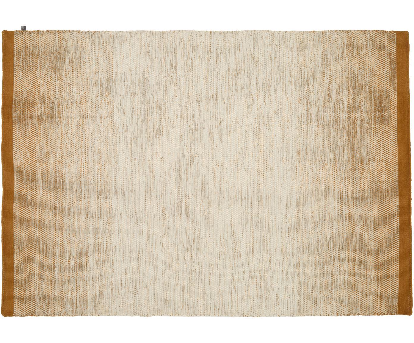 Alfombra artesanal de lana Lule, 70%lana, 30%algodón, Amarillo ocre, beige, An 140 x L 200 cm (Tamaño S)