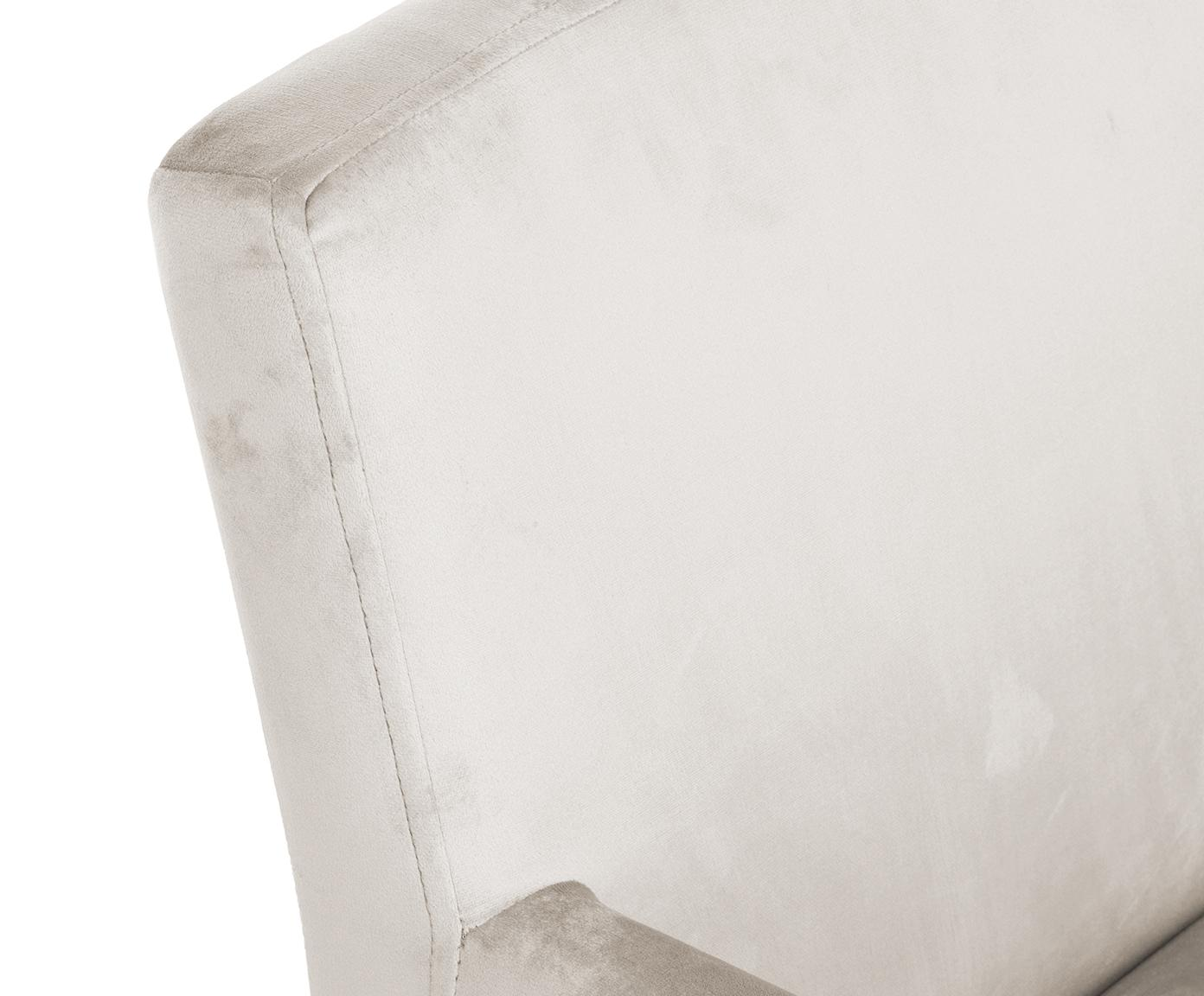 Krzesło z podłokietnikami z aksamitu Boston, Tapicerka: aksamit (wysokiej jakości, Nogi: lite drewno bukowe, lakie, Tapicerka: beżowy Nogi: czarny, S 60 x G 60 cm