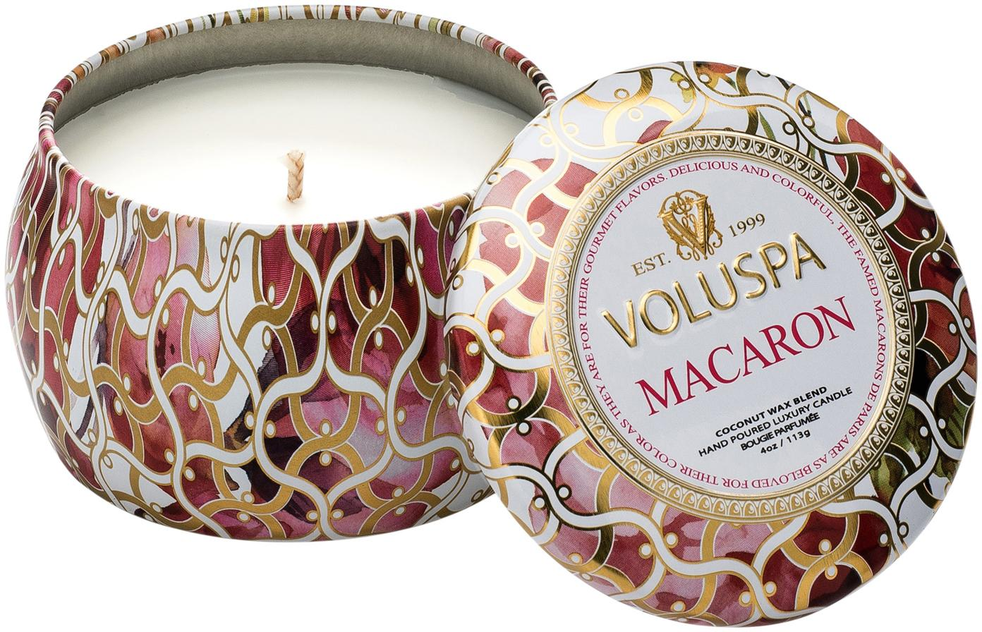 Duftkerze Petite (Vanille & Süße Mandeln), Weiß, Gold, Rot, Ø 8 x H 5 cm