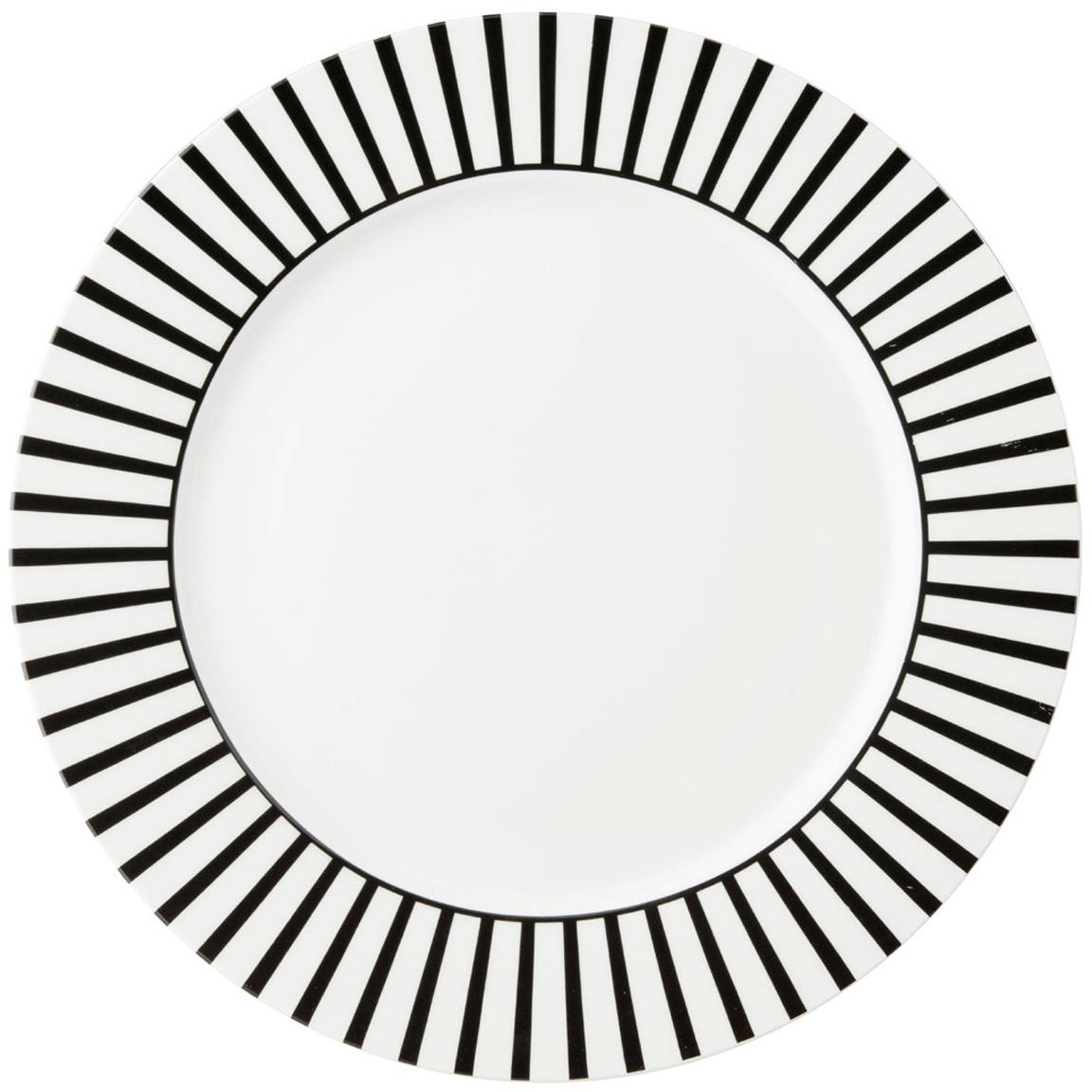 Speiseteller Ceres Loft mit Streifendekor in Schwarz/Weiss, 4 Stück, Porzellan, Weiss, Schwarz, Ø 26 x H 2 cm
