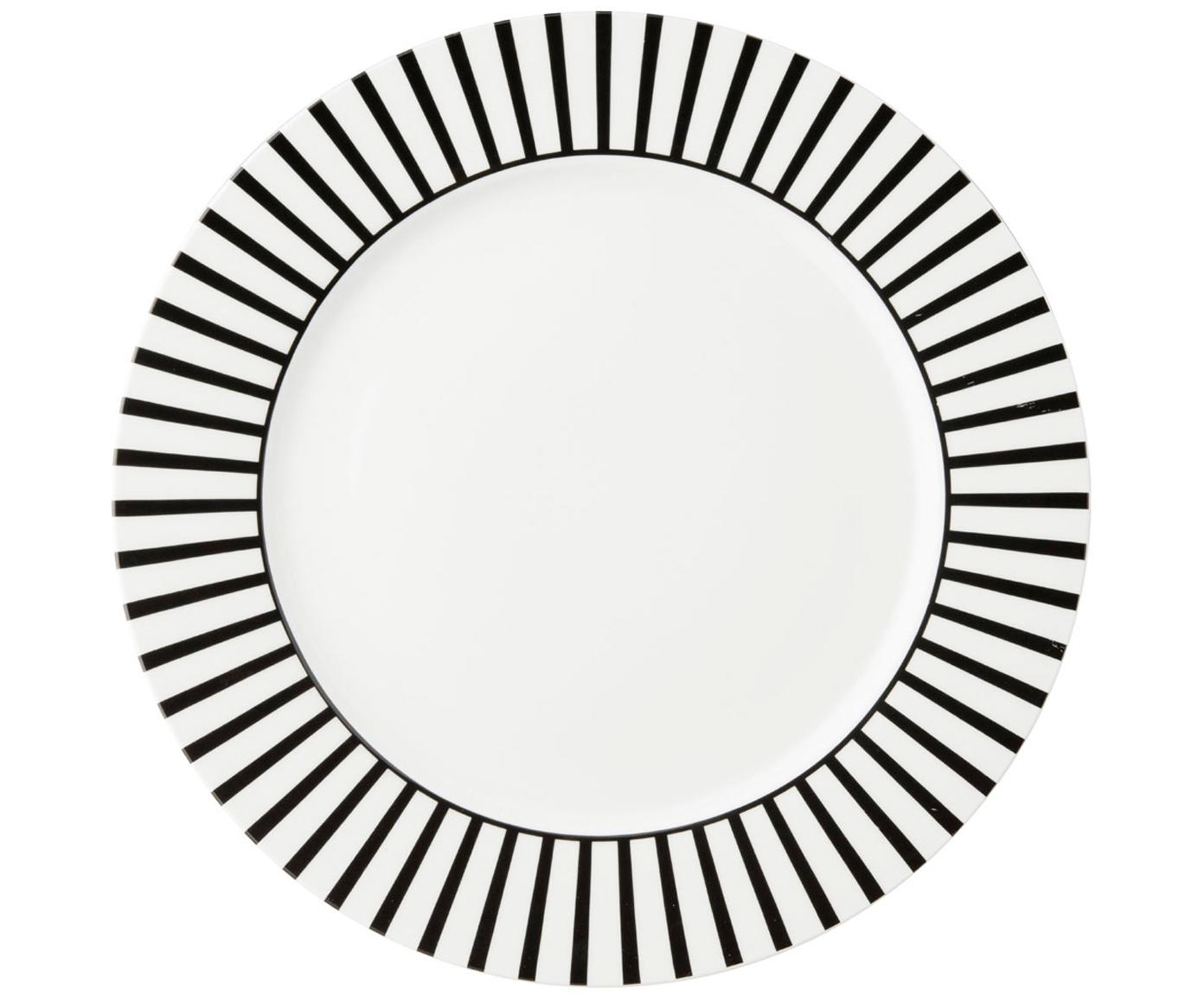 Dinerborden Ceres Loft, 4stuks, Porselein, Wit, zwart, Ø 26 x H 2 cm