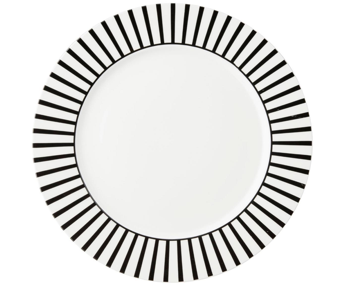 Speiseteller Ceres Loft, 4 Stück, Porzellan, Weiß, Schwarz, Ø 26 x H 2 cm