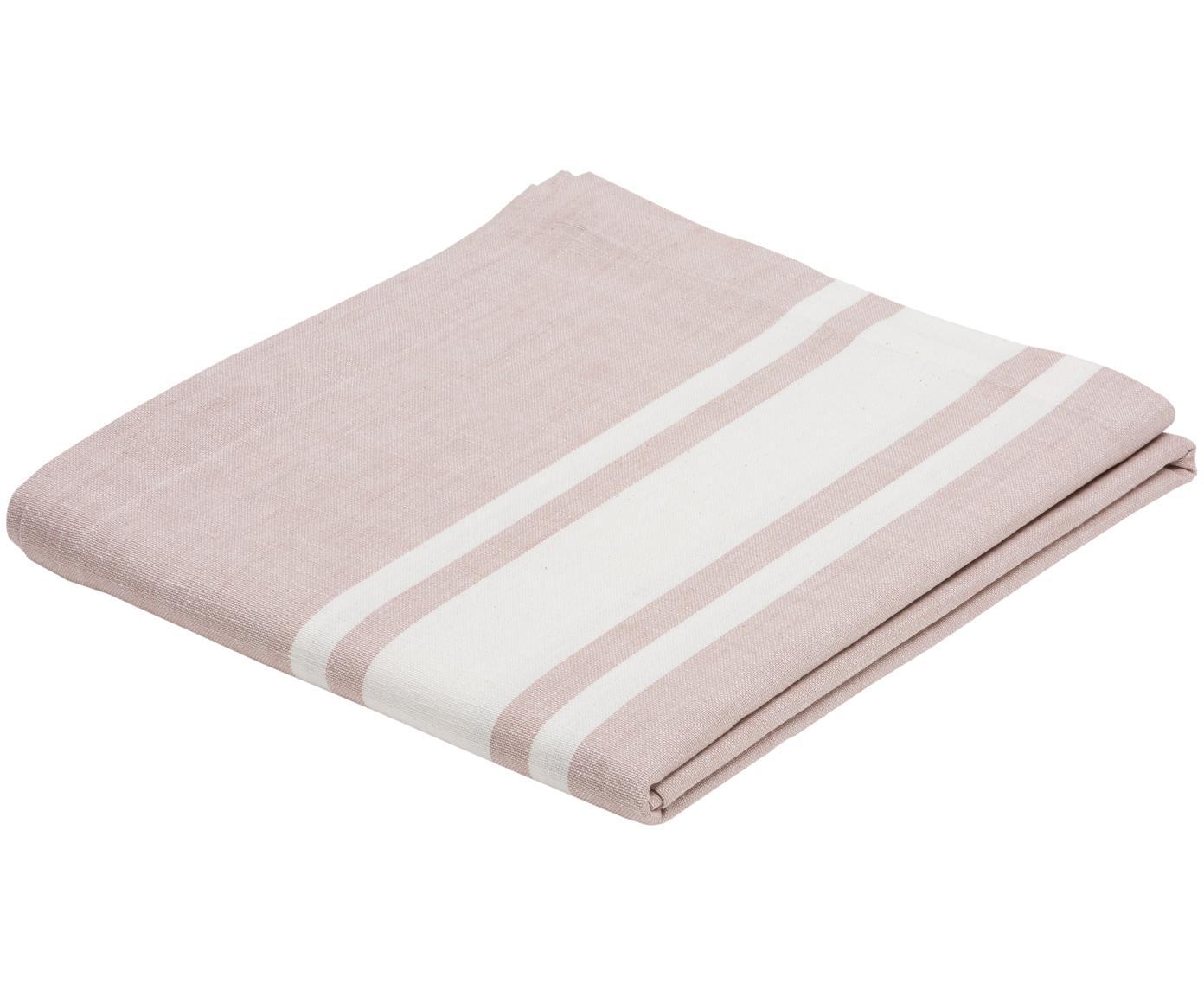Tafelkleed New French, Katoen, Roze, wit, Voor 6 - 8 personen (B 140 x L 250 cm)