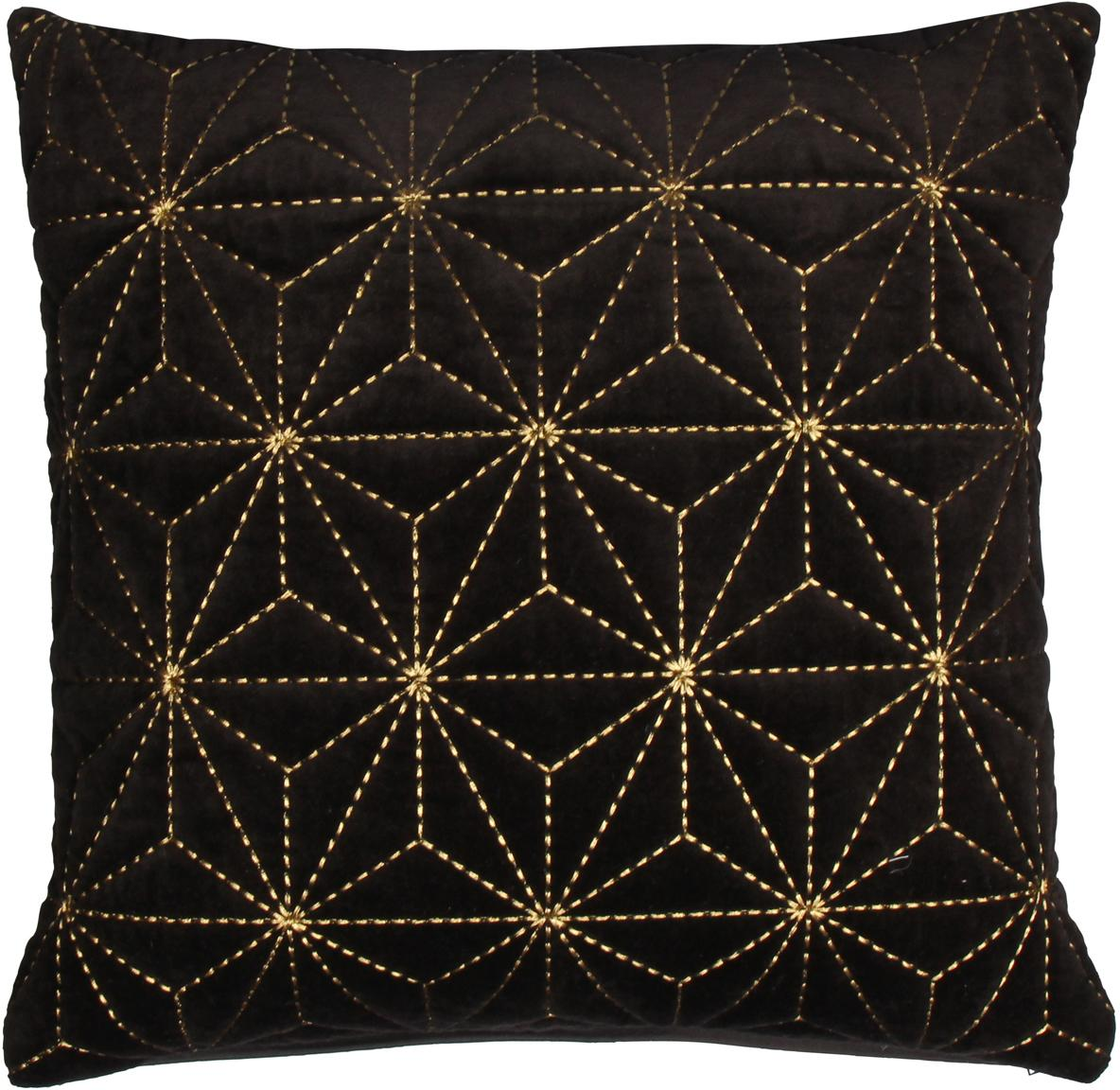 Kissenhülle Sari mit goldener Stickerei, 100% Baumwolle, Schwarz, Goldfarben, 45 x 45 cm
