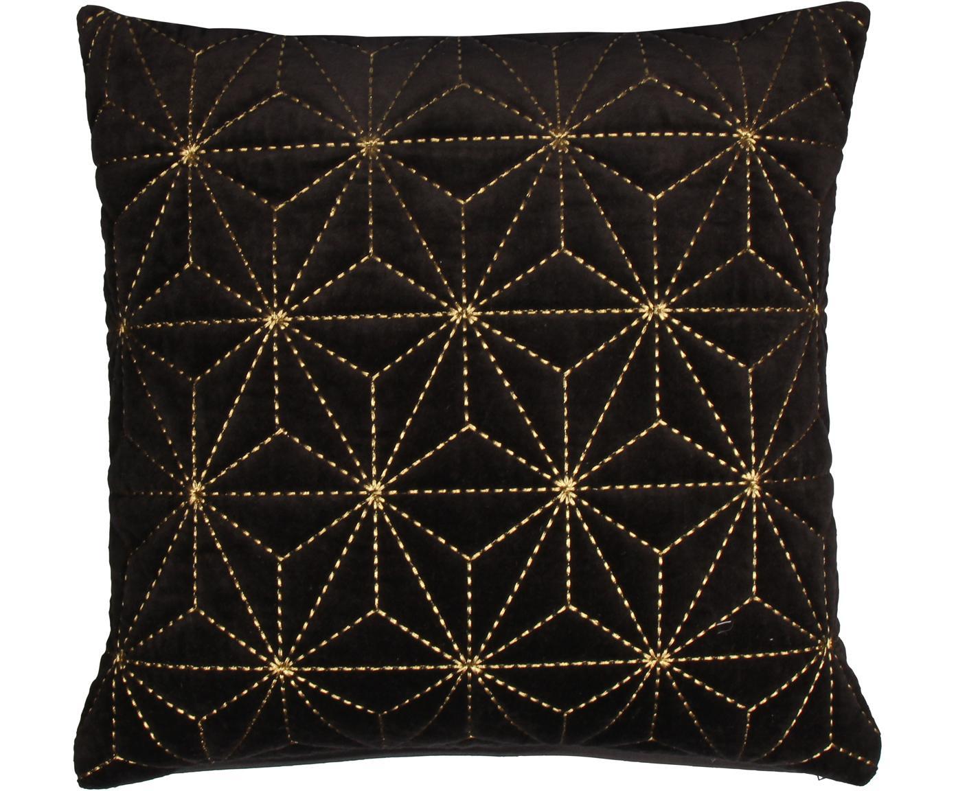 Kussenhoes Sari met gouden borduurwerk, Katoen, Zwart, goudkleurig, 45 x 45 cm