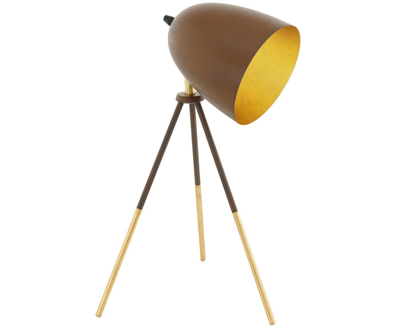 Schreibtischlampe Chester im Retro-Style, Lampenschirm: Stahl, lackiert, Braun, Goldfarben, Ø 29 x H 44 cm