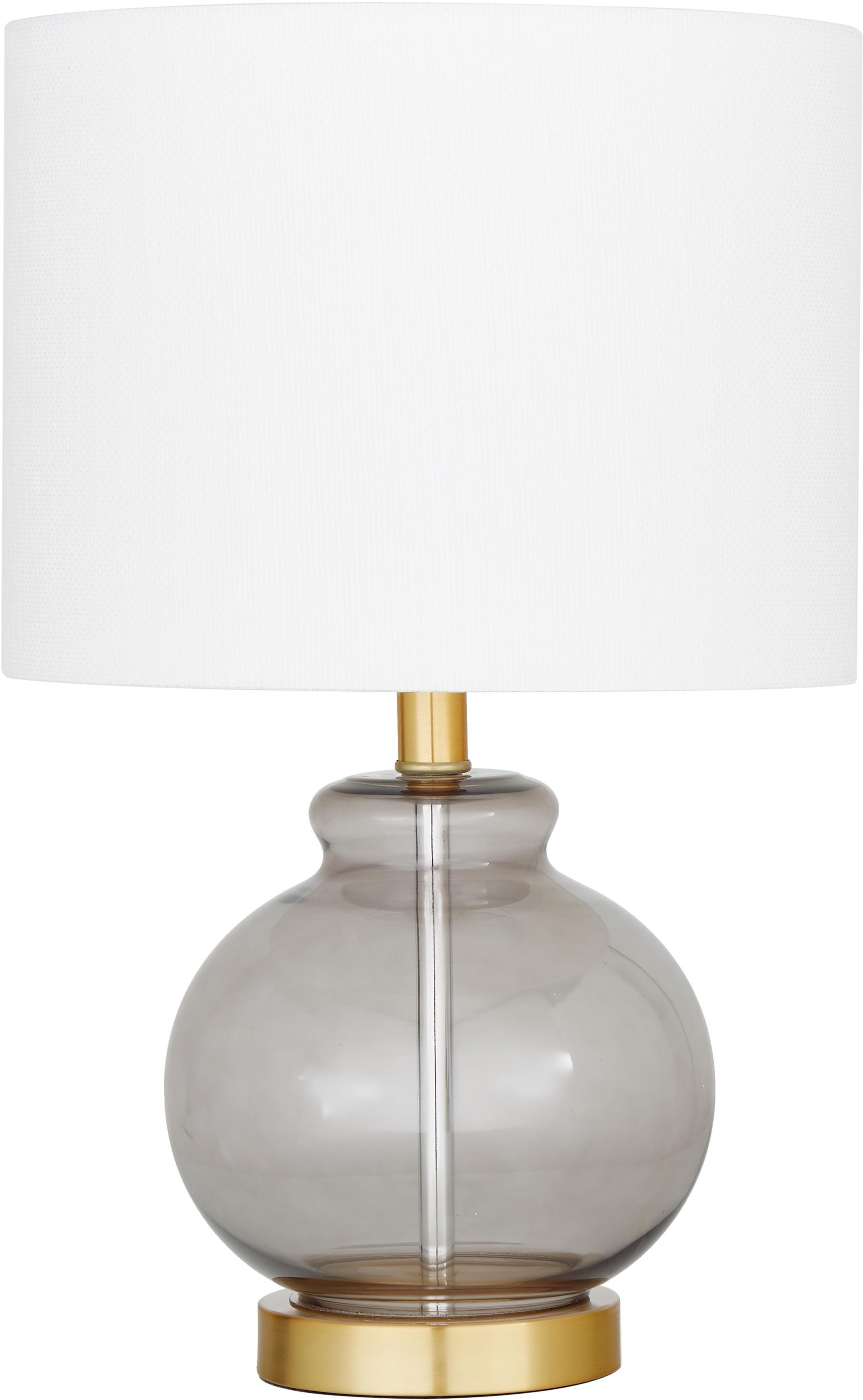 Tischlampe Natty mit Glasfuss, Lampenschirm: Textil, Sockel: Messing, gebürstet, Weiss, Blaugrau, transparent, Ø 31 x H 48 cm