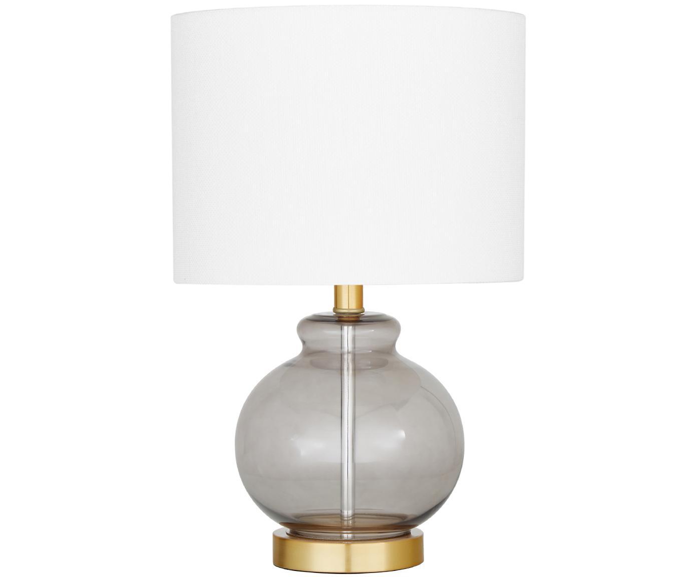 Tischleuchte Natty mit Glasfuß, Lampenschirm: Textil, Lampenfuß: Glas, Messing, gebürstet, Weiß, Blaugrau, transparent, Ø 31 x H 48 cm