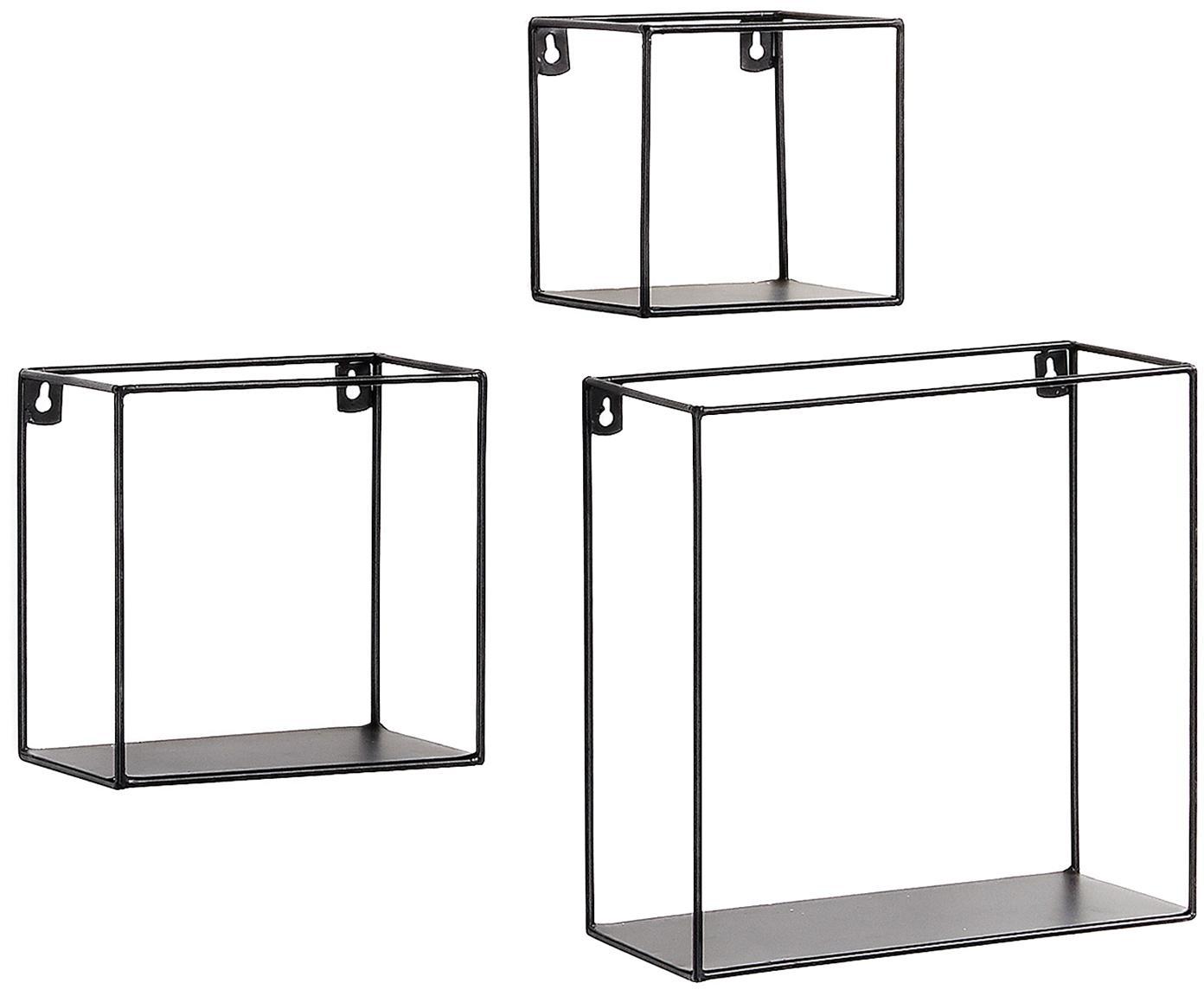 Mini Wandregal 3er-Set Nils in Schwarz, Metall, pulverbeschichtet, Schwarz, Verschiedene Grössen