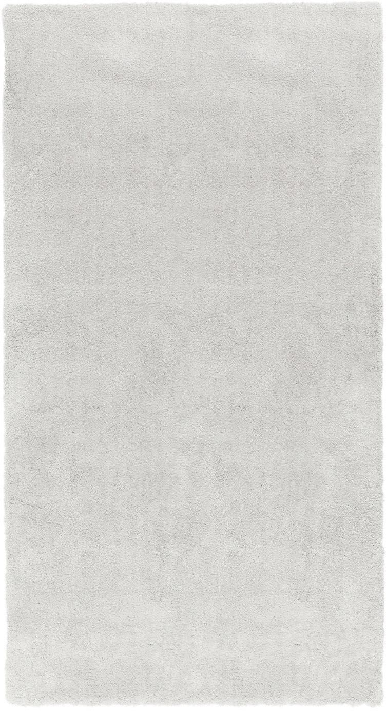 Tappeto peloso morbido grigio chiaro Leighton, Retro: 70% poliestere, 30% coton, Grigio chiaro, Larg. 60 x Lung. 110 cm (taglia XXS)