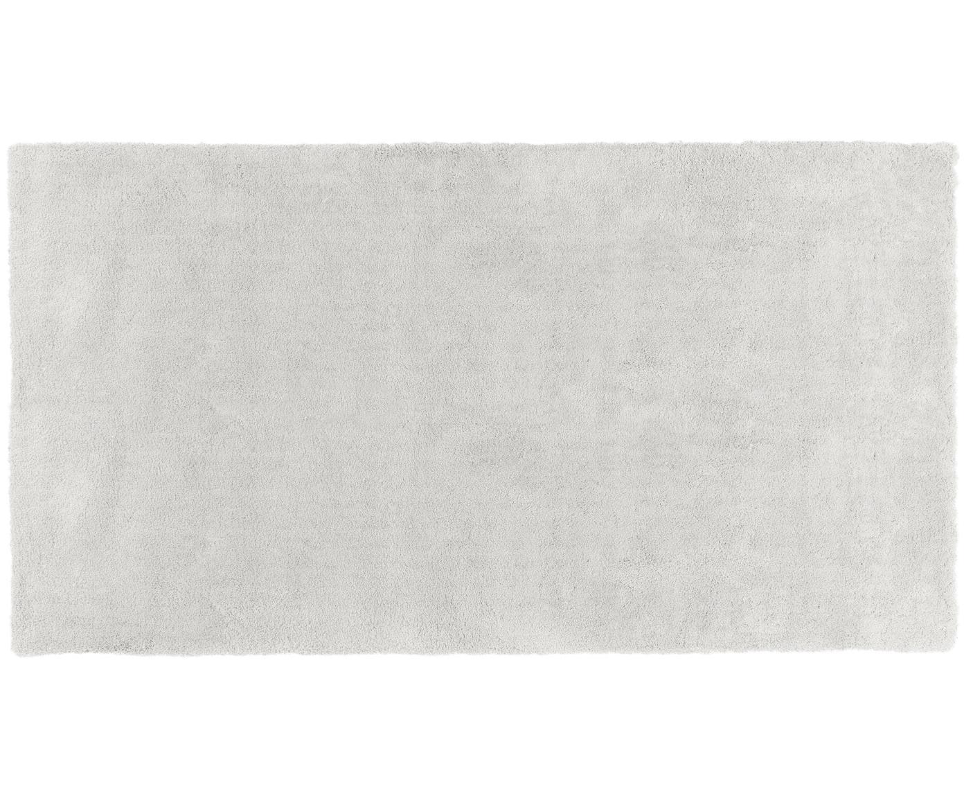 Pluizig hoogpolig vloerkleed Leighton in lichtgrijs, Bovenzijde: 100% polyester (microveze, Onderzijde: 100% polyester, Lichtgrijs, B 60 x L 110 cm (maat XXS)