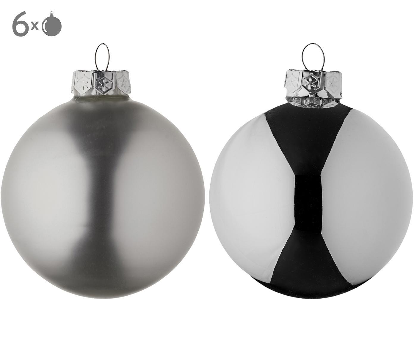 Kerstballenset Evergreen, 6-delig, Zilverkleurig, Ø 8 cm