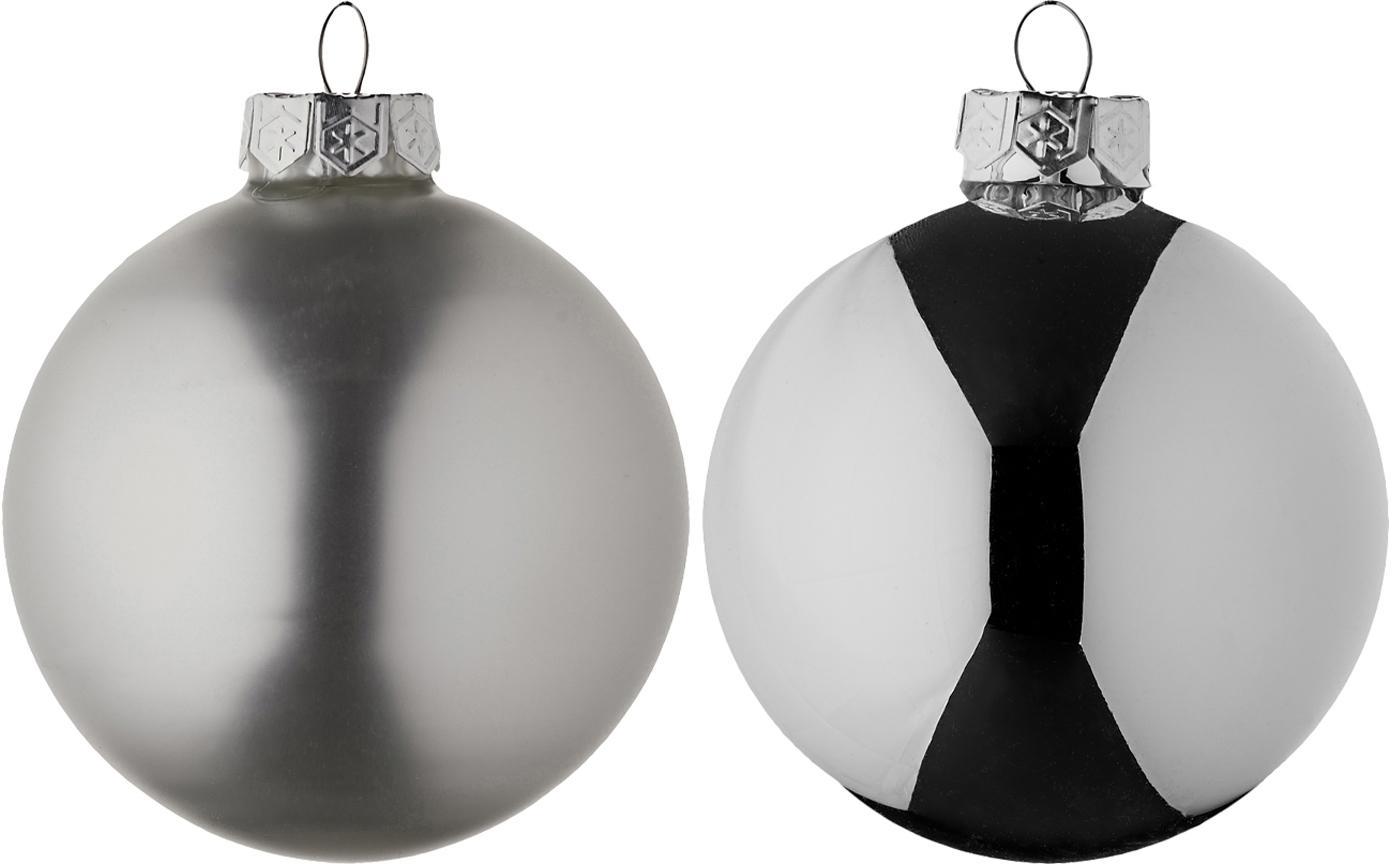 Weihnachtskugel-Set Evergreen Ø8cm,6-tlg., Silberfarben, Ø 8 cm