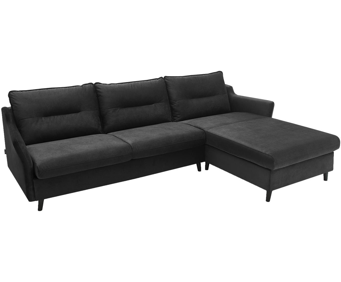 Sofa narożna z funkcją spania z aksamitu Loft, Tapicerka: 100% aksamit poliestrowy, Nogi: metal lakierowany, Ciemny szary, S 275 x G 181 cm