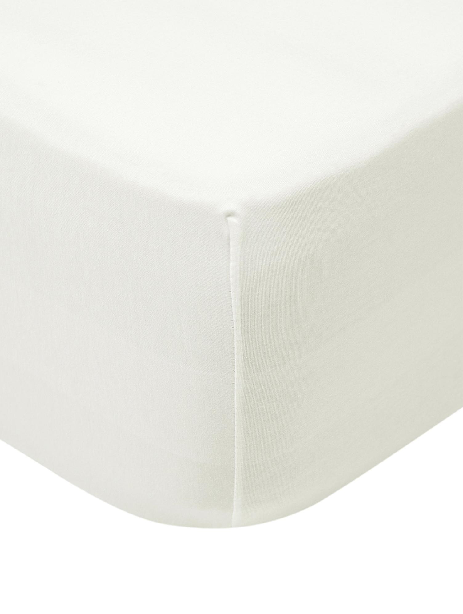 Spannbettlaken Lara, Jersey-Elasthan, 95% Baumwolle, 5% Elasthan, Cremefarben, 160 x 200 cm