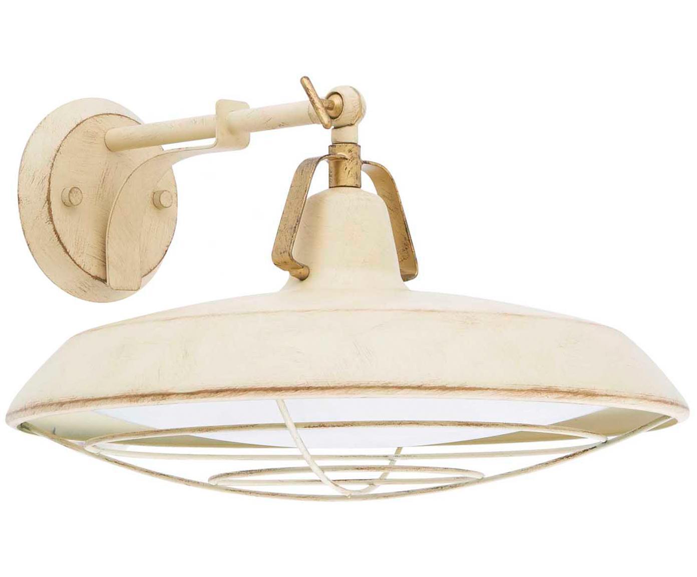 Aplique LED de exteriorWally, Lámpara: acero, pintado, Crema, An 37 x Al 20 cm