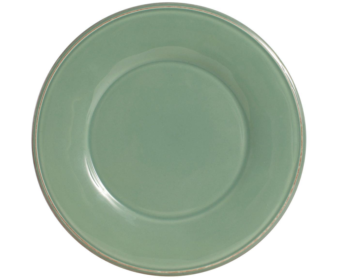 Platos de postre Constance, 2uds., estilo rústico, Cerámica, Verde salvia, Ø 24 cm