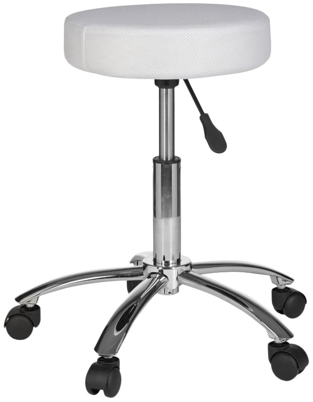 Sgabello da ufficio con ruote Leon, Rivestimento: nylon, poliammide, Struttura: metallo cromato, Ruote: plastica, Bianco, cromo, Ø 55 x Alt. 60 cm