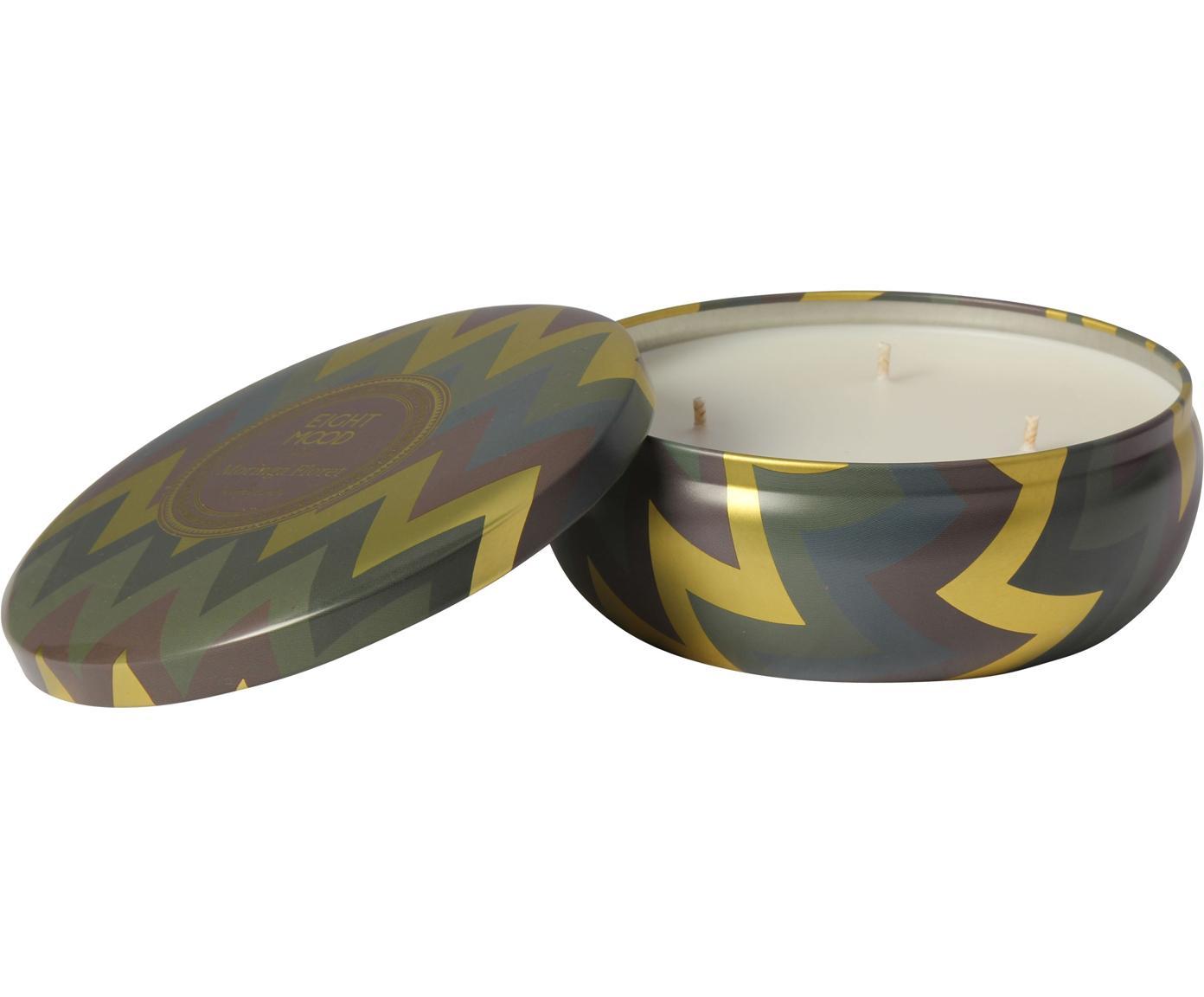 Vela perfumada de tres mechas Hanneke (melocotón, bergamota y melón), Recipiente: metal, Dorado, marrón, verde, Ø 13 x Al 6 cm