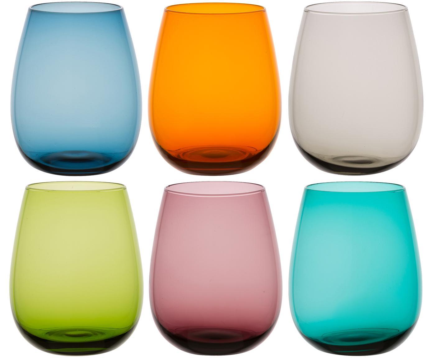 Set 6 bicchieri acqua Happy Hour, Vetro, Multicolore, Ø 8 x Alt. 12 cm