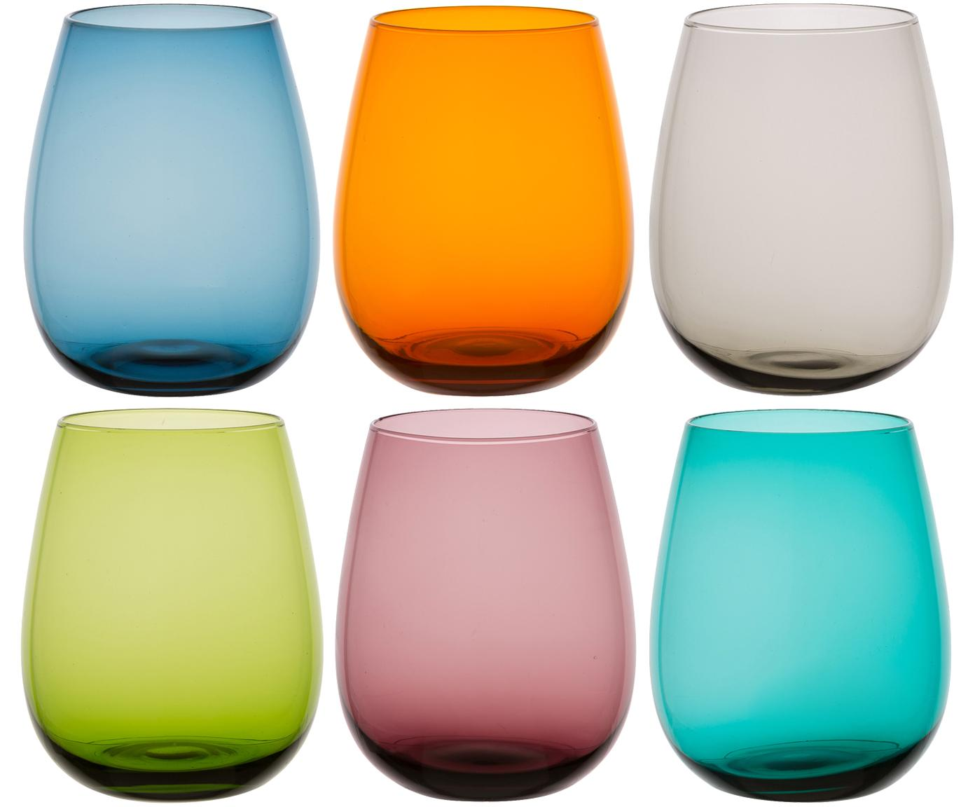 Vasos de colores Happy Hour, 6 uds., Vidrio, Multicolor, Ø 9 x Al 11 cm