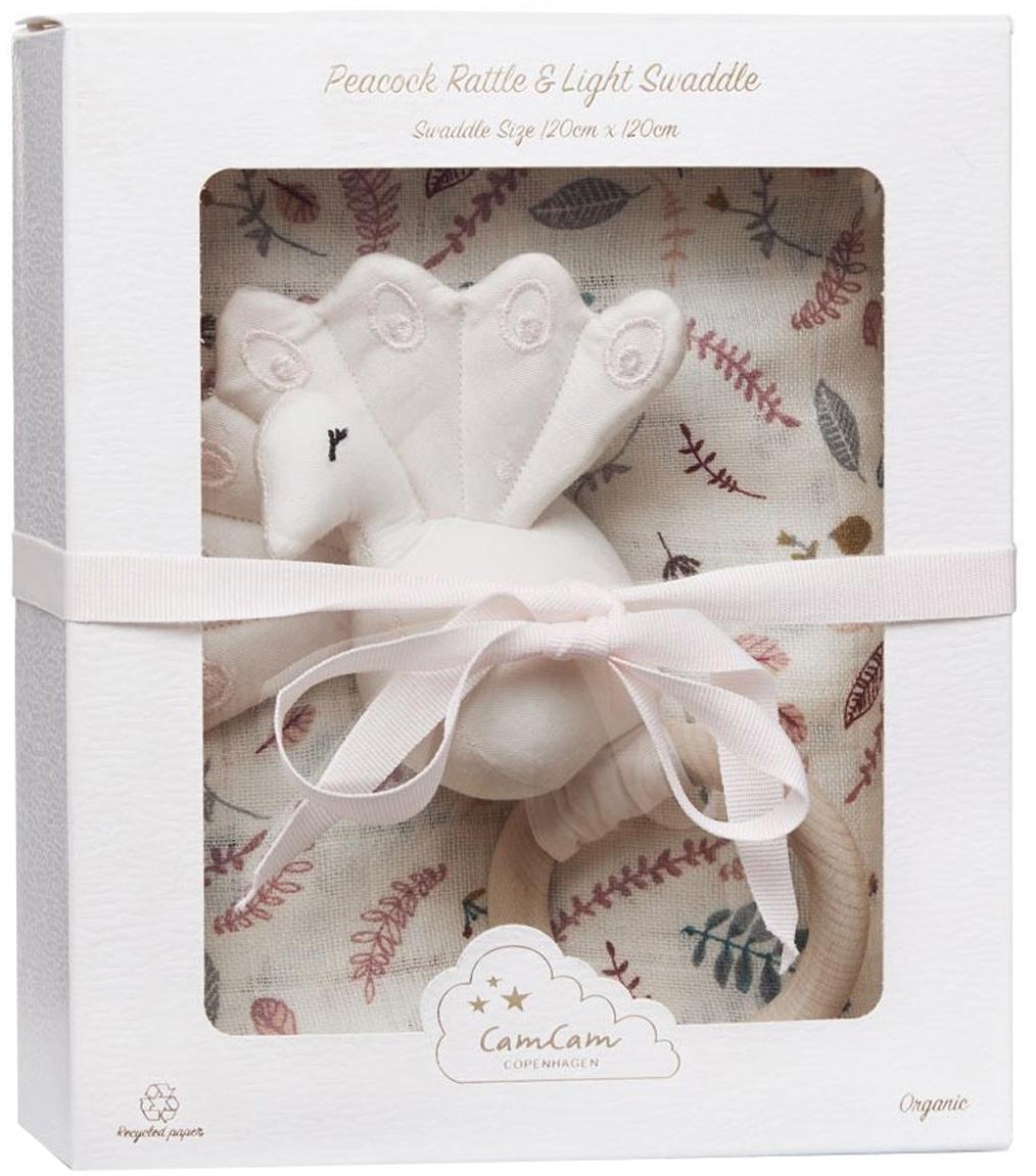 Geschenk-Set Pressed Leaves aus Bio-Baumwolle, 2-tlg., Bezug: Bio-Baumwolle, GOTS-zerti, Rosa, Mehrfarbig, 18 x 21 cm
