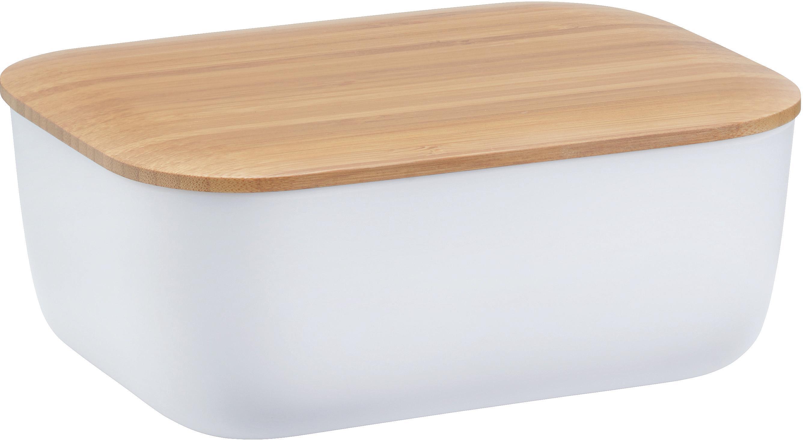 Burriera Box-It, Contenitore: melamina, Coperchio: bambù, Bianco, bambù, Larg. 15 x Alt. 7 cm