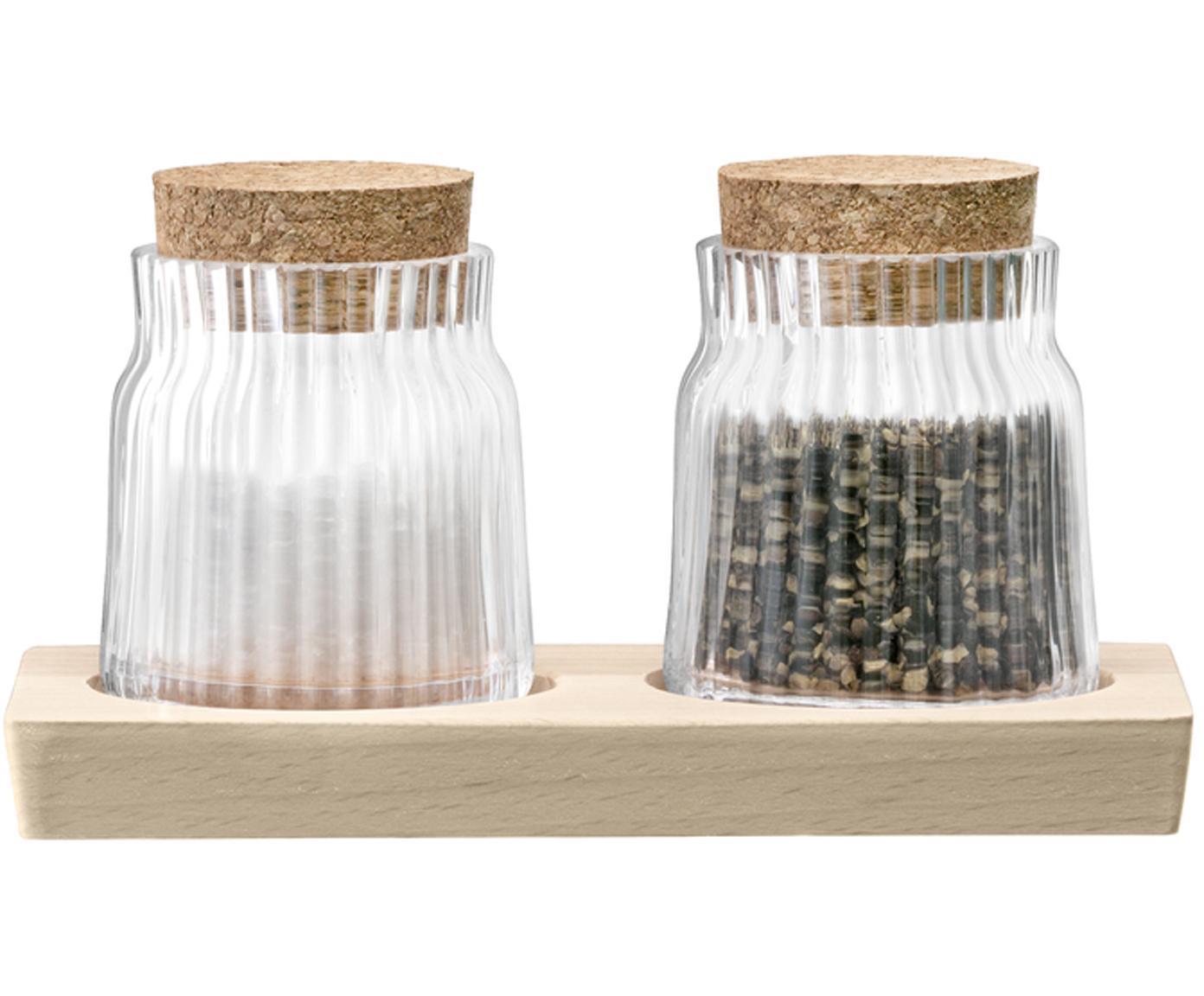 Zout- en peperstrooier-set Gio Line met groefreliëf, 3-delig, Houder: glas, Sluiting: kurk, Dienblad: beukenhout, Transparant, kurkkleurig, 16 x 9 cm