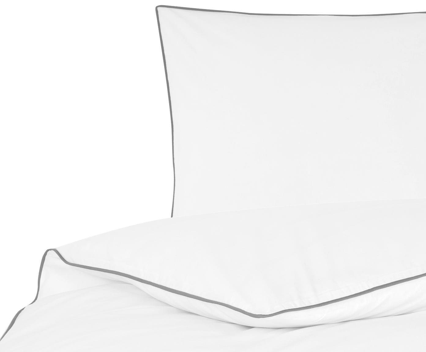Baumwollperkal-Bettwäsche Daria in Weiß mit Keder, Webart: Perkal Fadendichte 200 TC, Weiß Kederumrandung: Dunkelgrau, 135 x 200 cm + 1 Kissen 80 x 80 cm