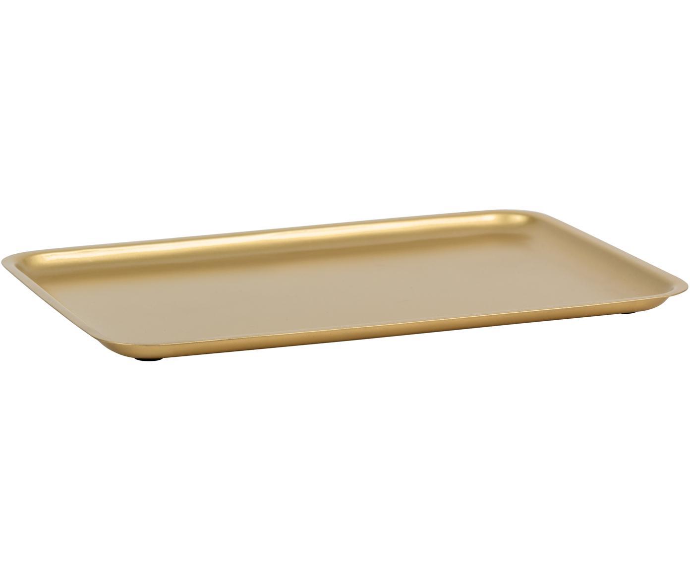Vassoio dorato Good Morning, Metallo rivestito, Ottonato, Larg. 34 x Prof. 23 cm