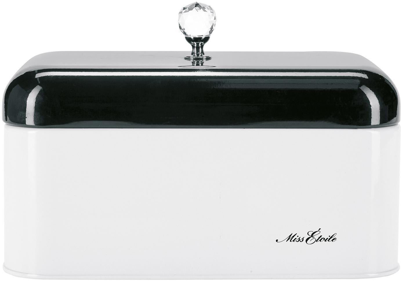 Broodtrommel Diamond Knob, Zwart, wit, B 31 x D 15 cm