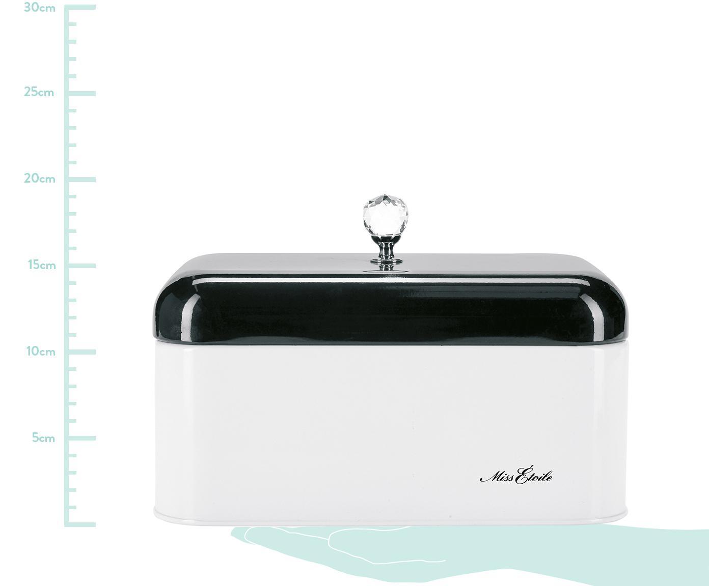 Brotkasten Diamond Knob mit Diamantenknauf, Schwarz, Weiß, B 31 x T 15 cm