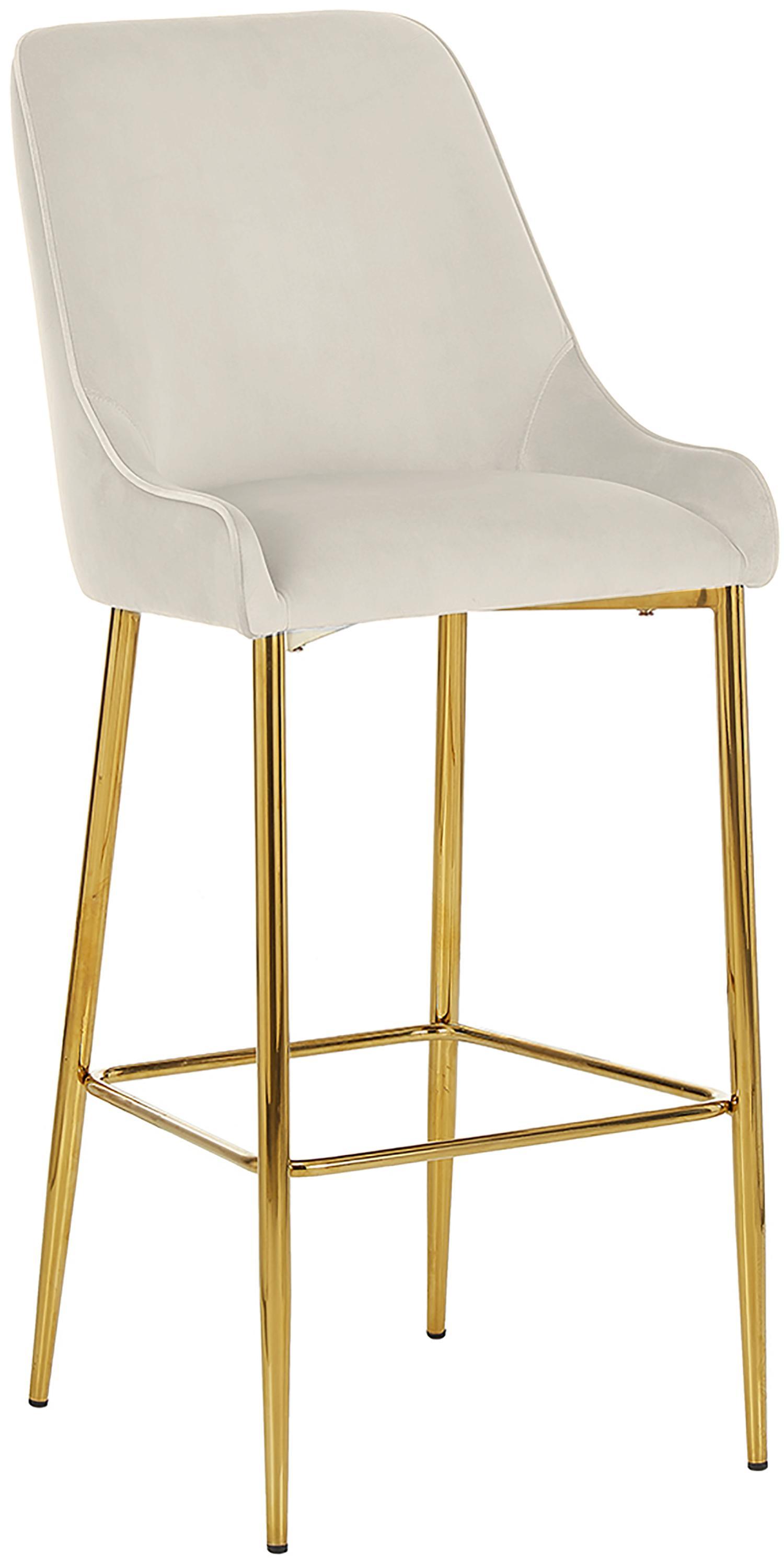 Krzesło barowe z aksamitu Ava, Tapicerka: aksamit (100% poliester) , Aksamitny beżowy, S 48 x W 107 cm