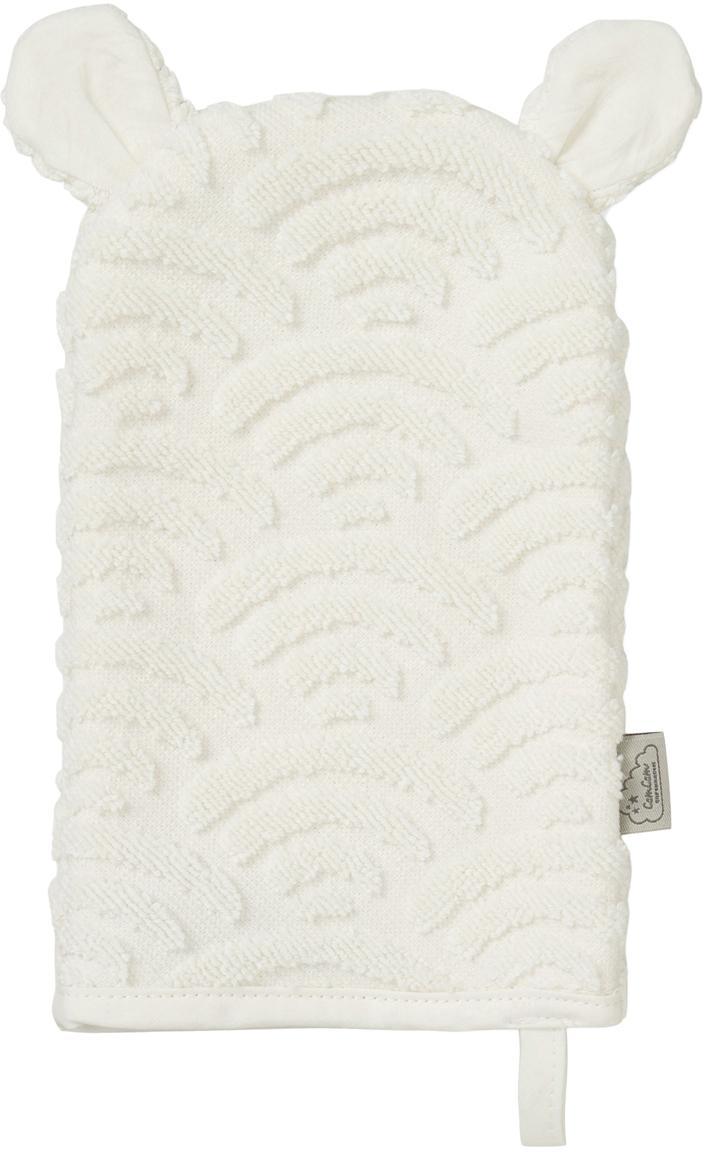 Guanto per bagnetto in cotone organico Wave, Cotone organico, certificato GOTS, Bianco spezzato, Larg. 15 x Lung. 22 cm