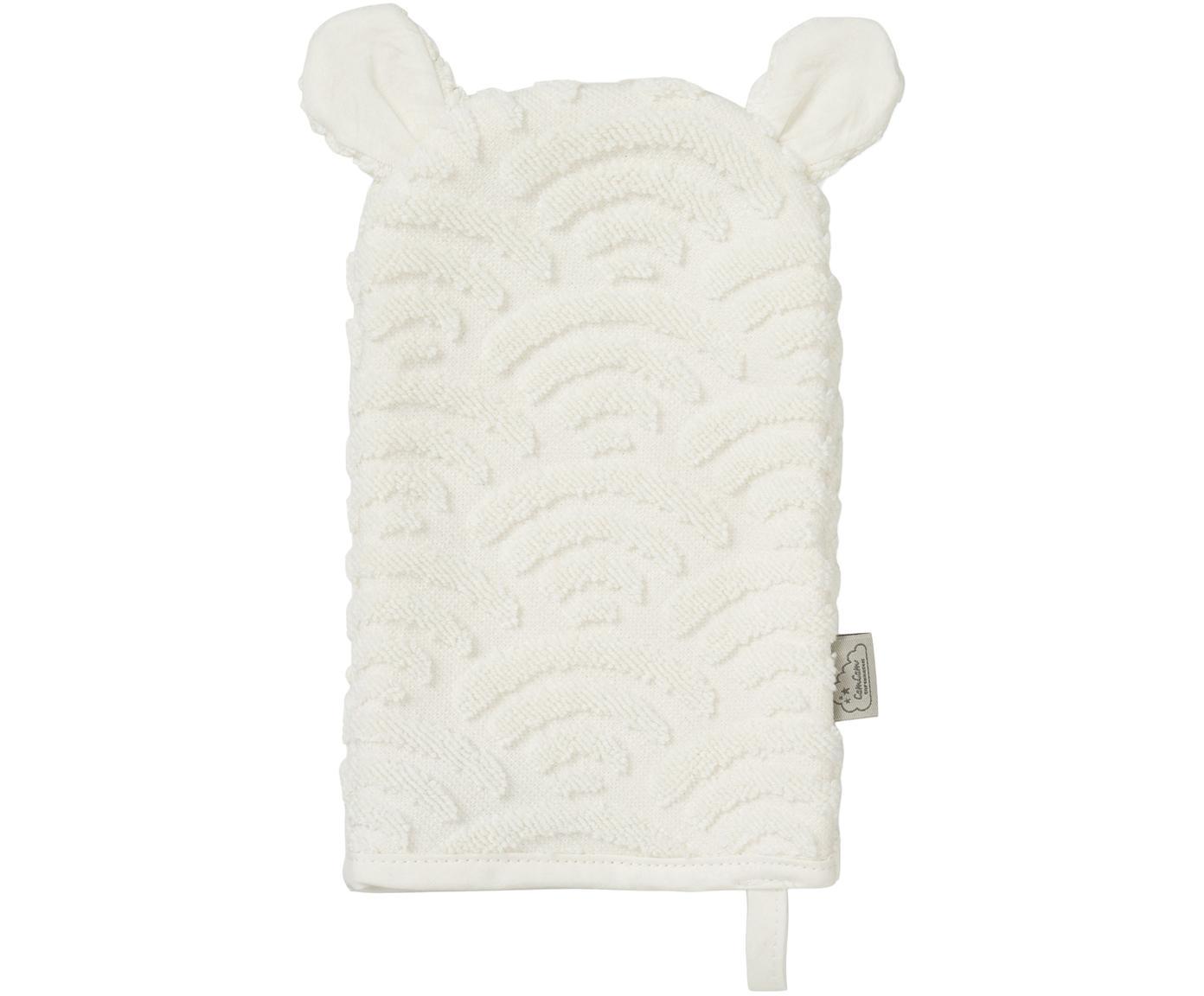 Waschlappen Wave aus Bio-Baumwolle, Bio-Baumwolle, GOTS-zertifiziert, Gebrochenes Weiß, 15 x 22 cm