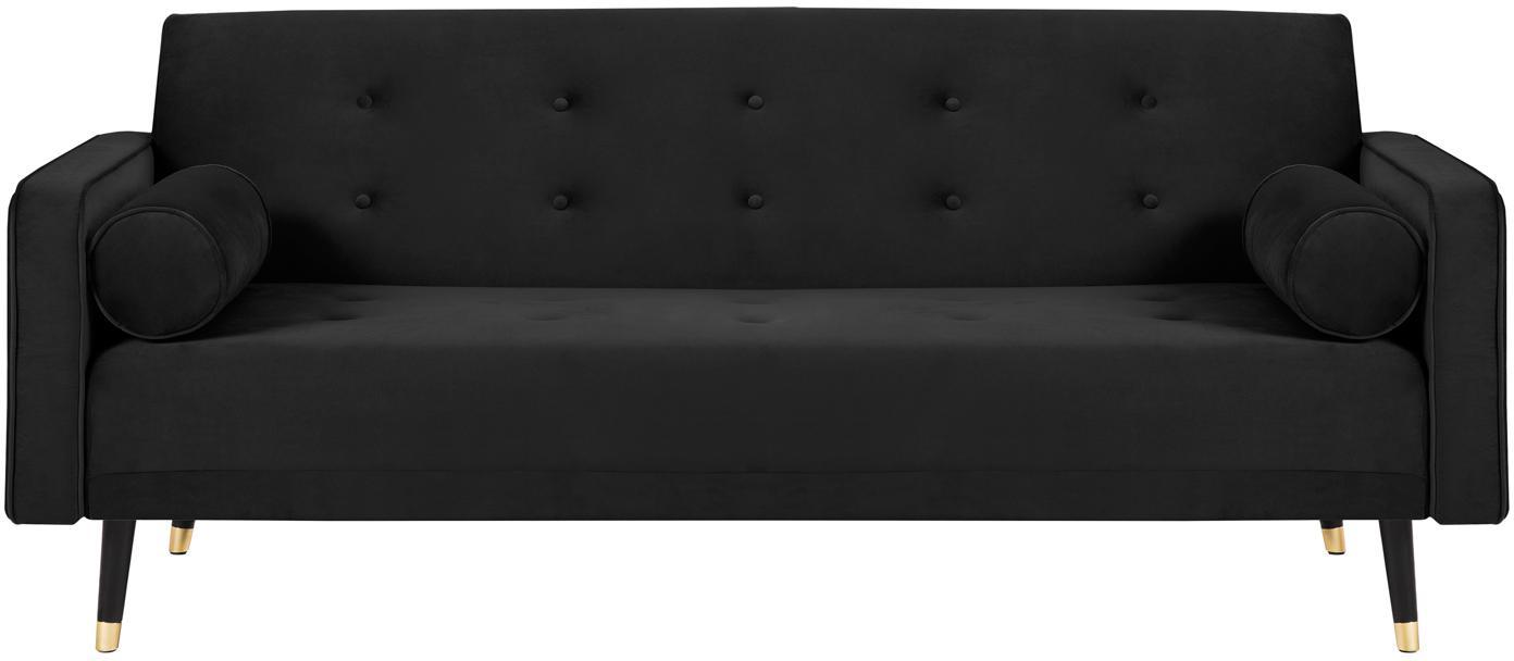 Sofa rozkładana z aksamitu Gia (3-osobowa), Tapicerka: aksamit poliestrowy, Nogi: drewno bukowe, lakierowan, Czarny, S 212 x G 93 cm