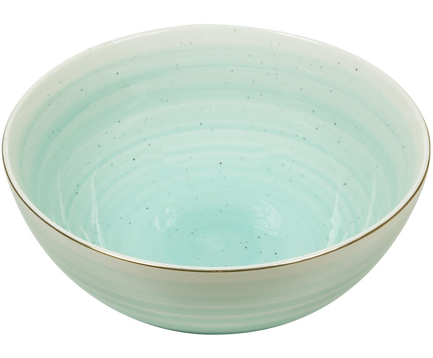 Bol artesanal Bol, Porcelana, Azul turquesa, Ø 22 x Al 10 cm