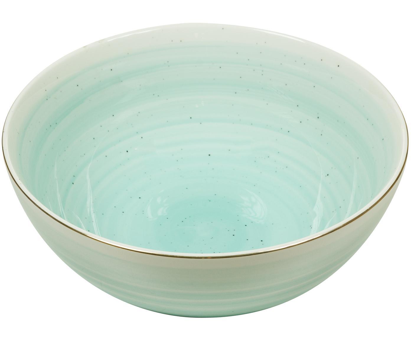 Handgemachte Schale Bol mit Goldrand, Porzellan, Türkisblau, Ø 22 x H 10 cm
