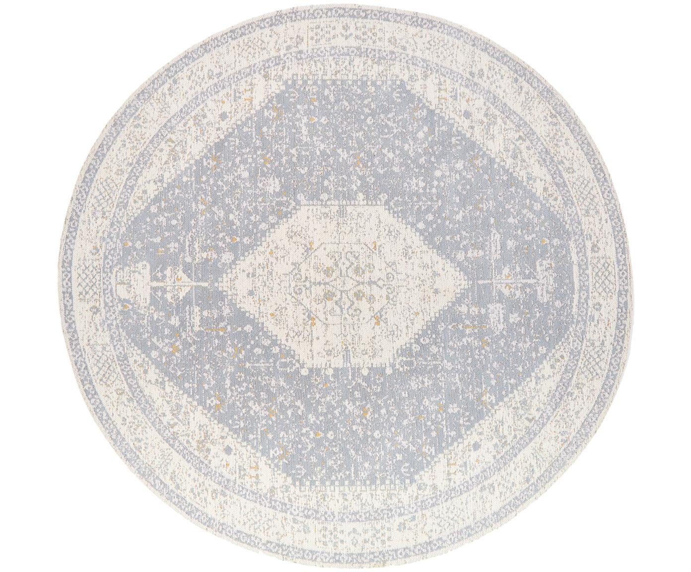 Okrągły ręcznie tkany dywan szenilowy Neapel, Jasny szary, kremowy, taupe, Ø 200 cm (Rozmiar L)