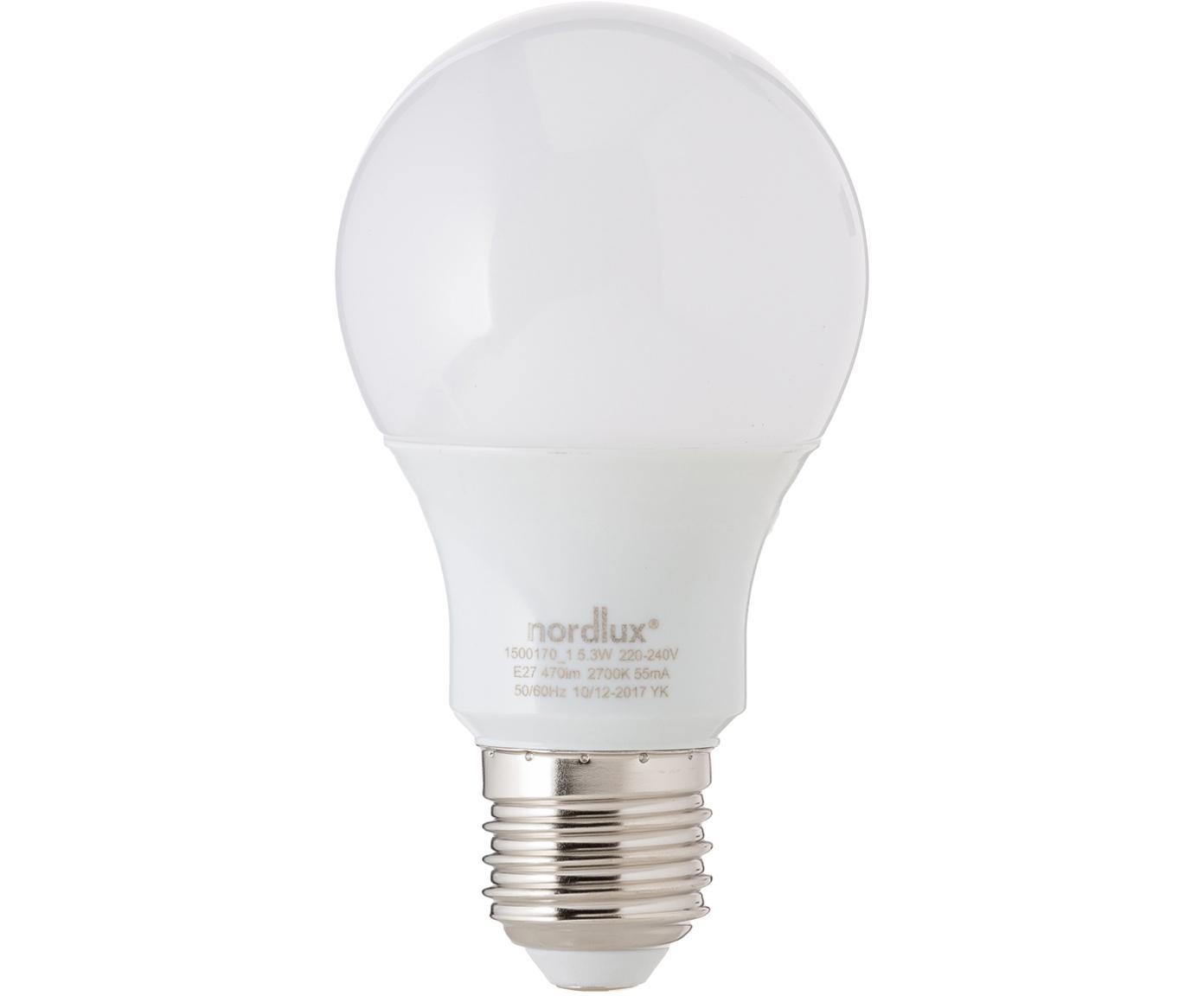 Lampadina LED Morning (E27 / 5Watt) 5 pz., Paralume: vetro opale, Base lampadina: alluminio, Bianco, Ø 7 x A 11 cm