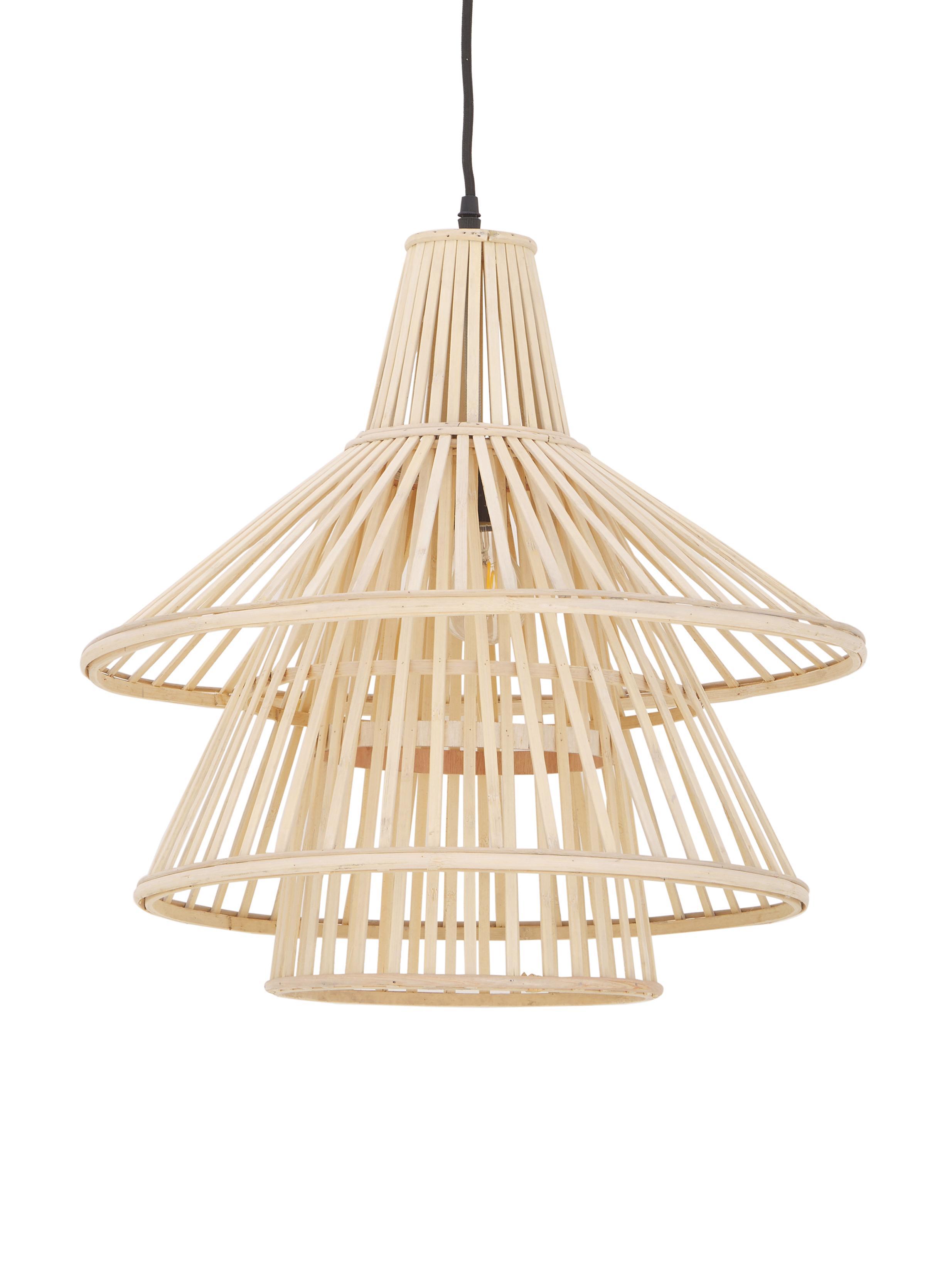Lampa wisząca z drewna bambusowego Kamil, Beżowy, czarny, Ø 48 x W 51 cm