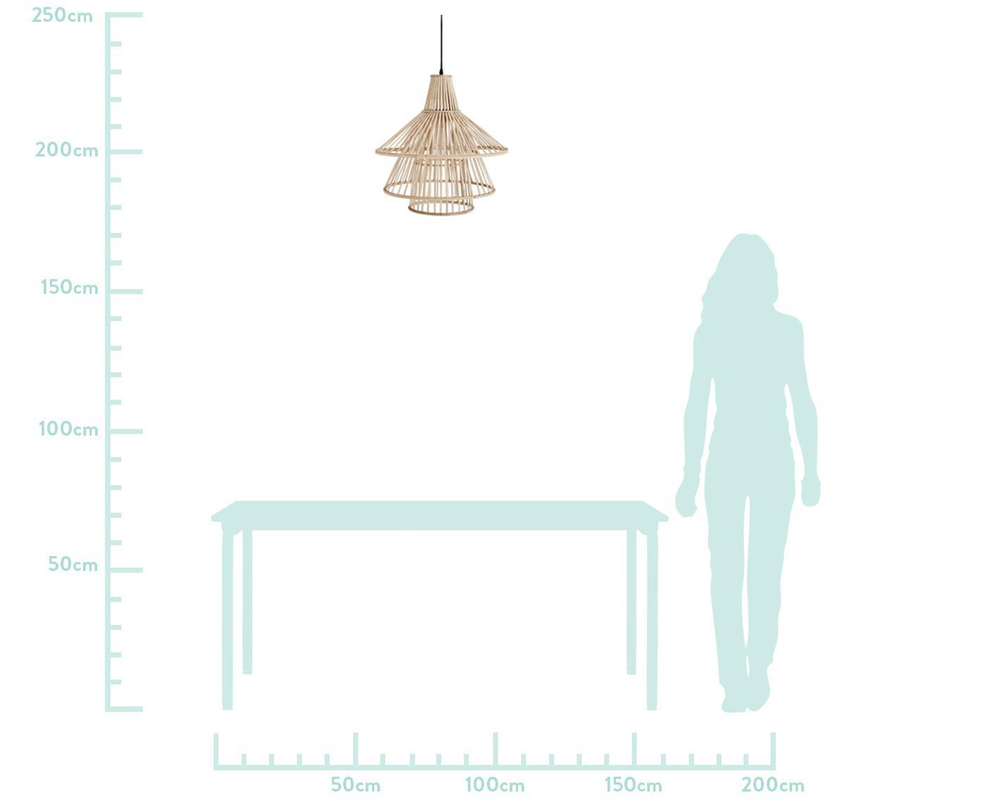 Pendelleuchte Kamil aus Bambus, Lampenschirm: Bambus, Beige, Schwarz, Ø 48 x H 51 cm
