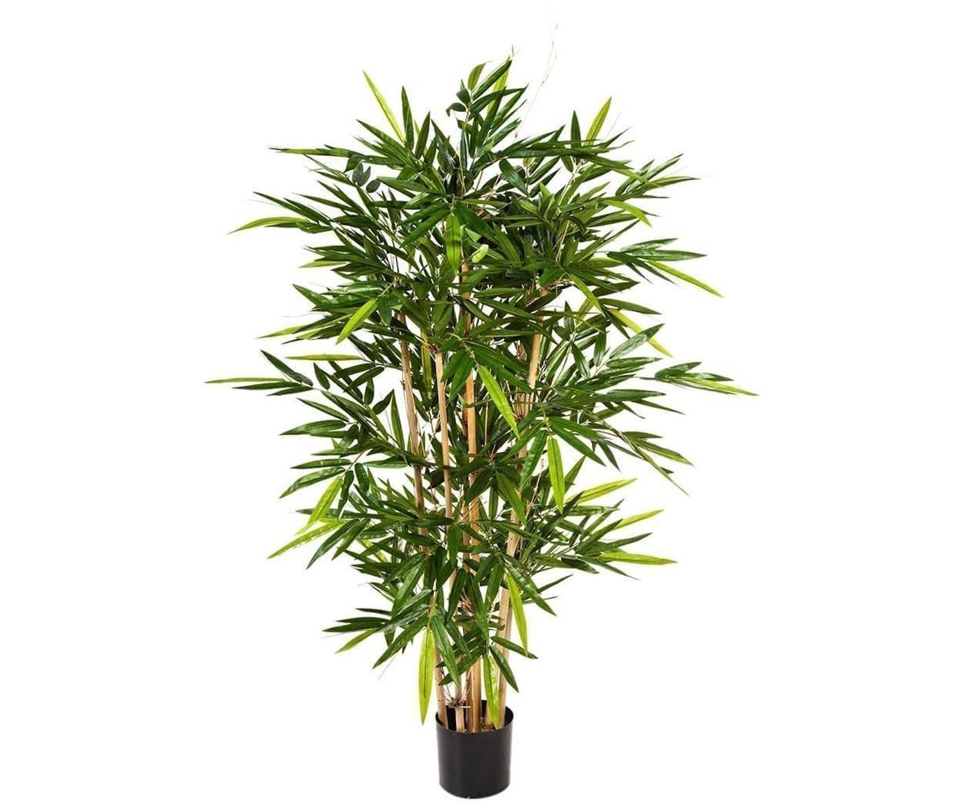 Planta artificial Bamboo, Poliéster, troncos de materiales naturales, Verde, marrón, Ø 45 x Al 120 cm