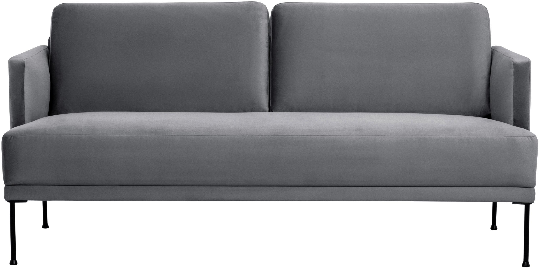 Samt-Sofa Fluente (2-Sitzer), Bezug: Samt (Hochwertiger Polyes, Gestell: Massives Kiefernholz, Füße: Metall, pulverbeschichtet, Samt Braungrau, B 166 x T 85 cm