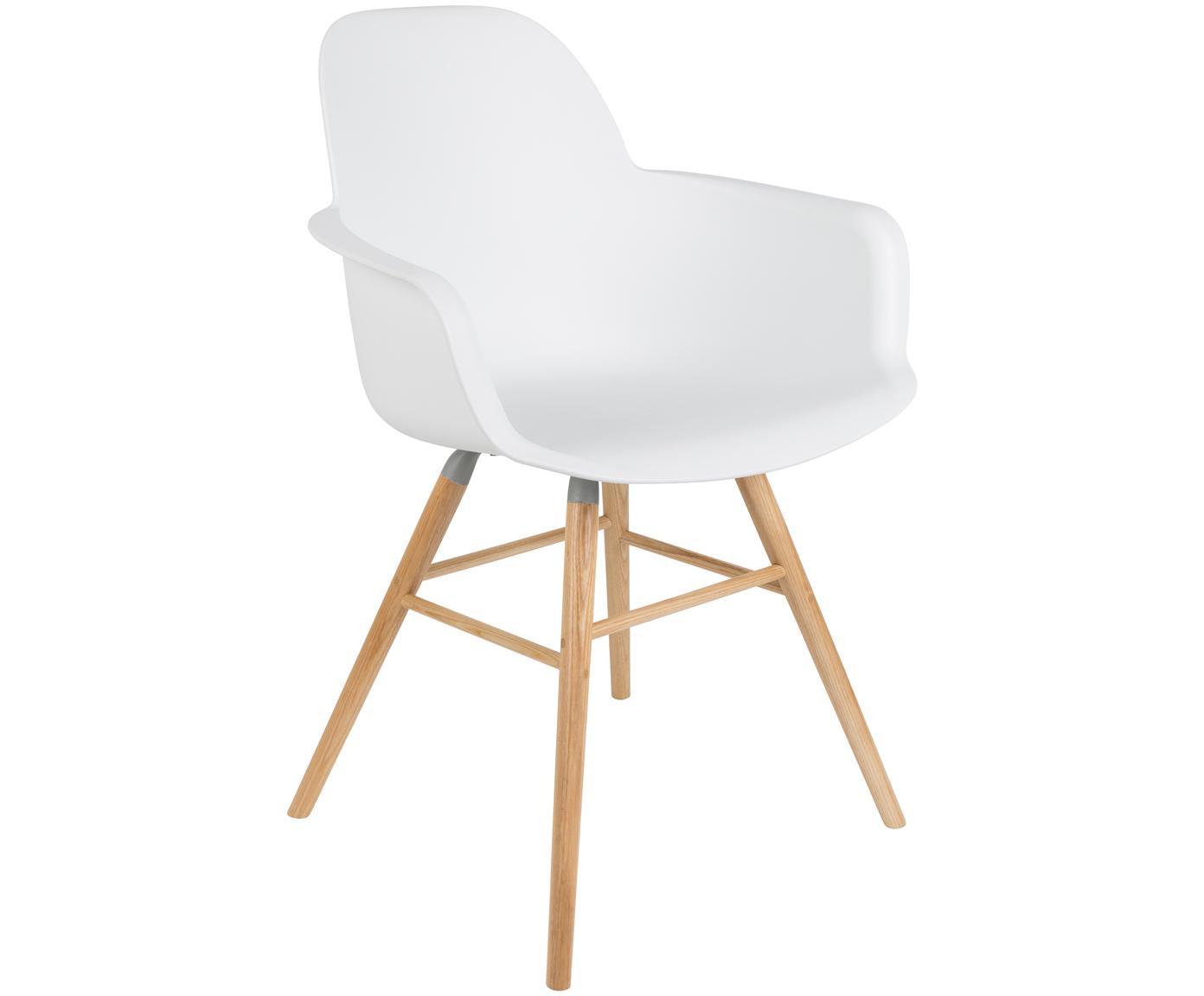 Silla con reposabrazos Albert Kuip, Asiento: 100%polipropileno, Patas: madera de fresno, Blanco, An 59 x Al 82 cm