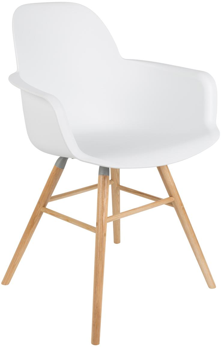 Sedia con braccioli Albert Kuip, Seduta: 100% polipropilene, Piedini: legno di frassino, Bianco, Larg. 59 x Prof. 55 cm