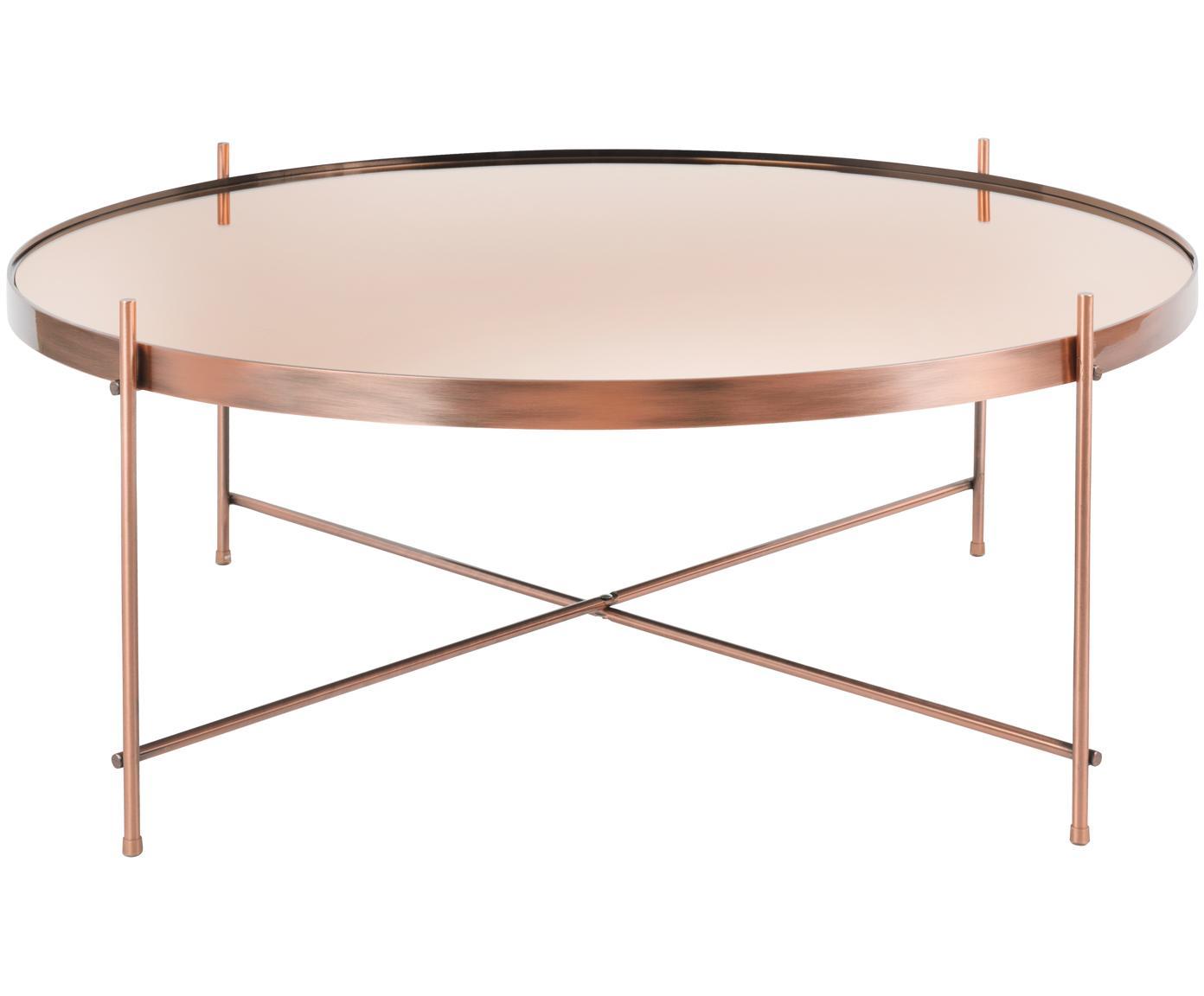 Tavolino da salotto con piano in vetro Cupid, Struttura: metallo ramato, Piano d'appoggio: vetro, Rame, Ø 83 x Alt. 35 cm